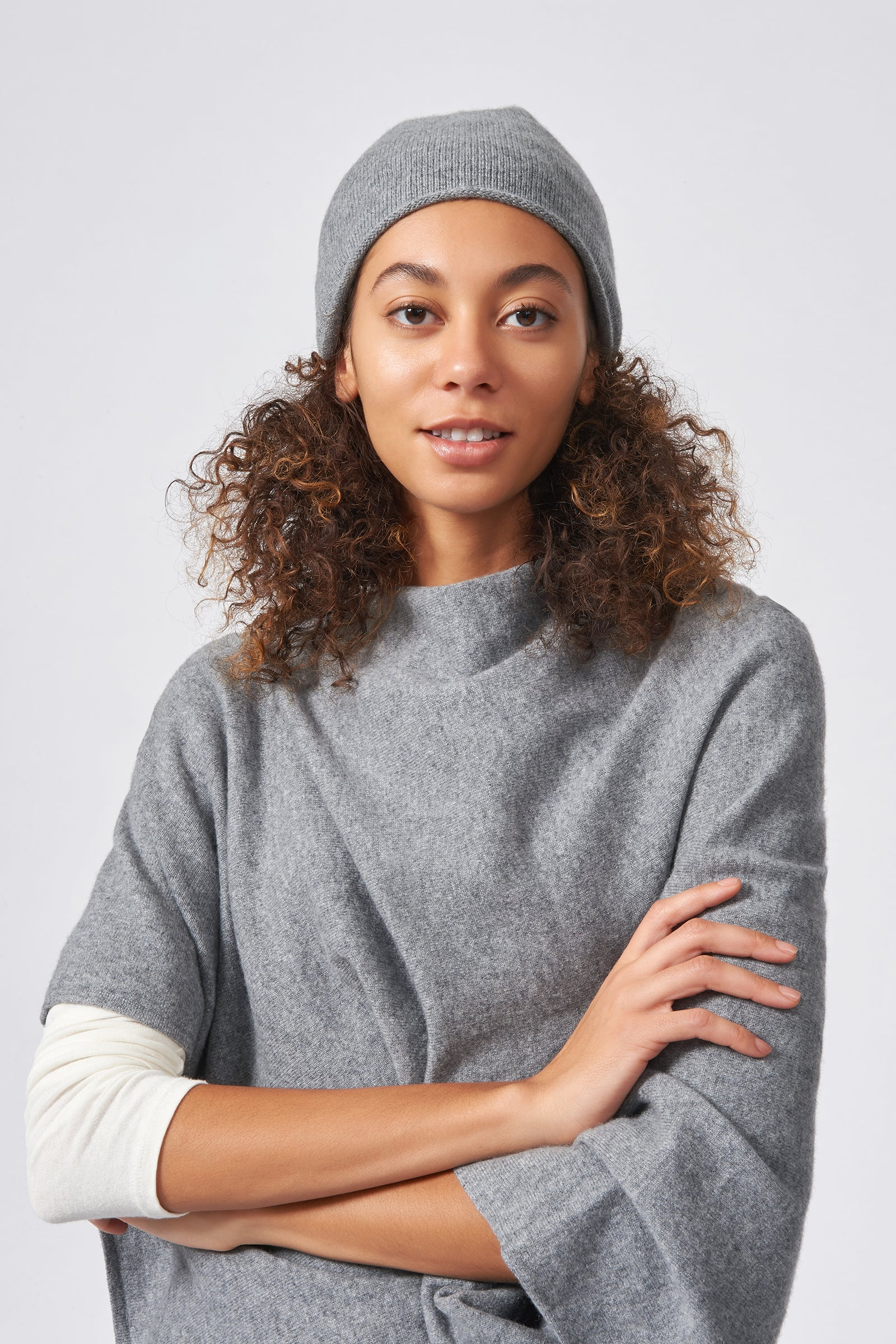 Kal Rieman Cashmere Cap in Flannel Grey on Model Front View