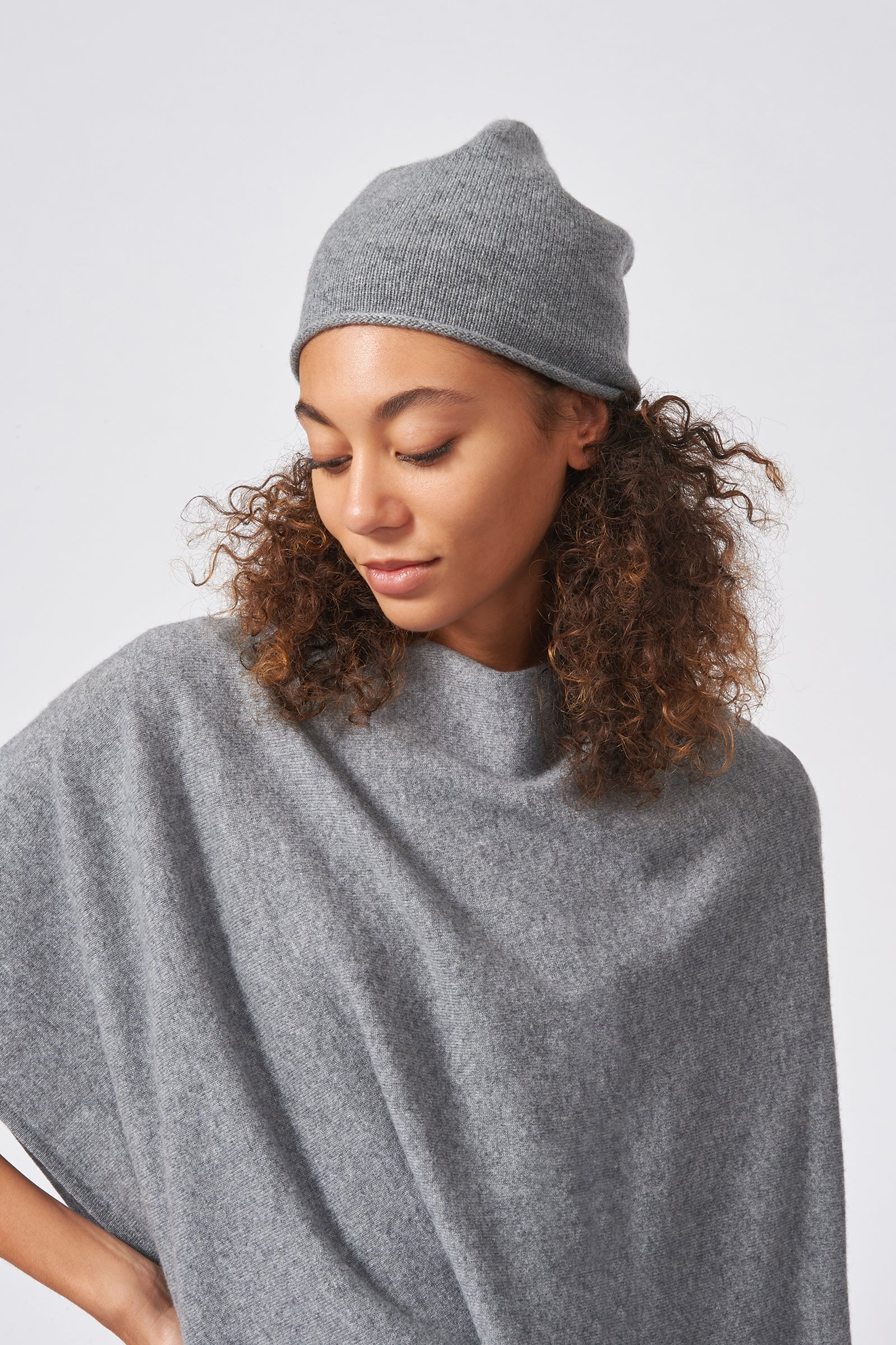 Kal Rieman Cashmere Cap in Flannel Grey on Model Front Side View