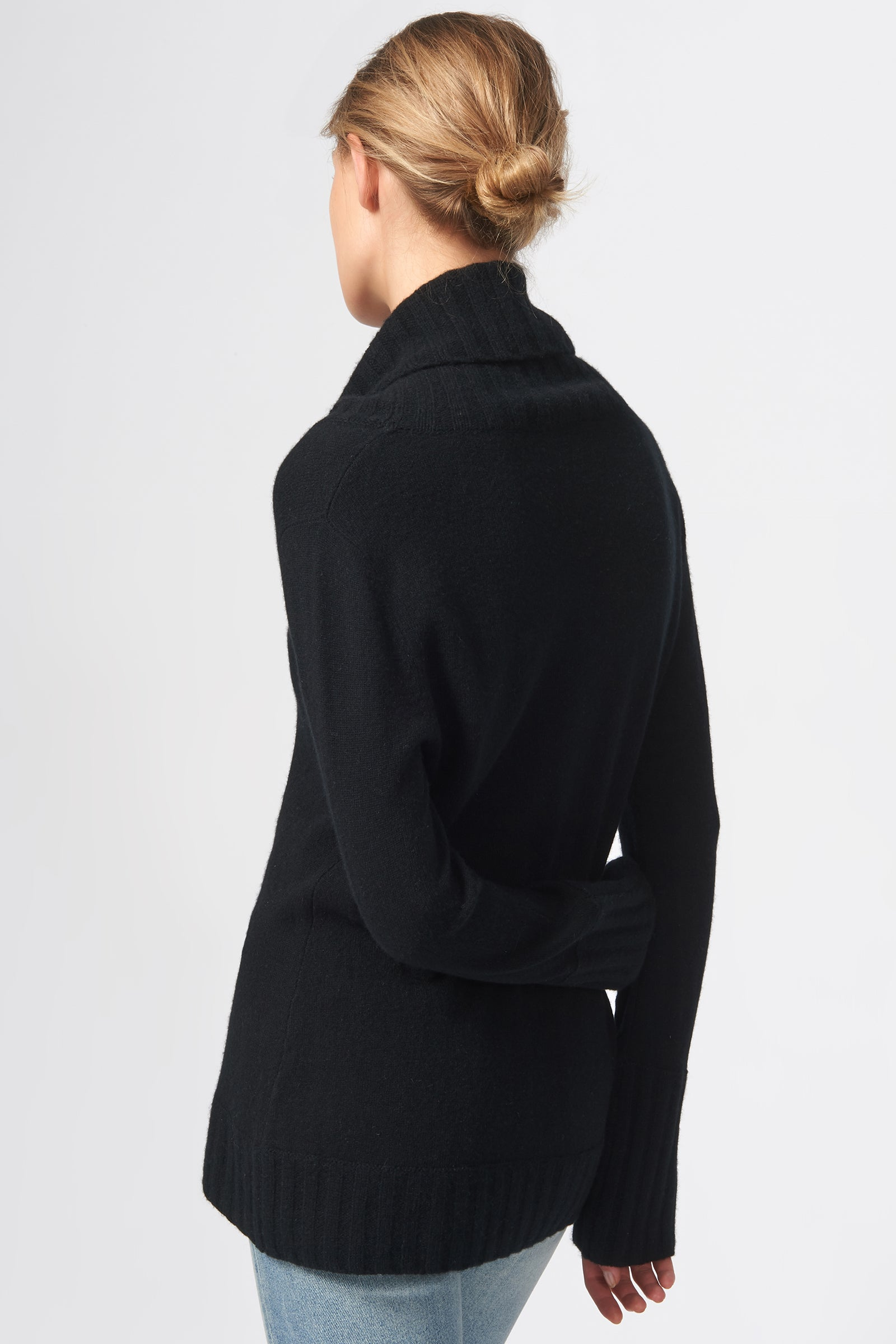 Kal Rieman Cashmere Cowel T-Neck in Black on Model Front View