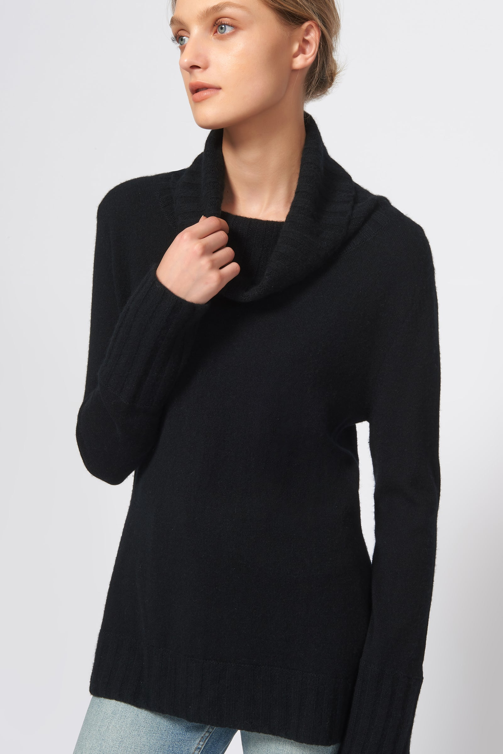 Kal Rieman Cashmere Cowel T-Neck in Black on Model Detail View