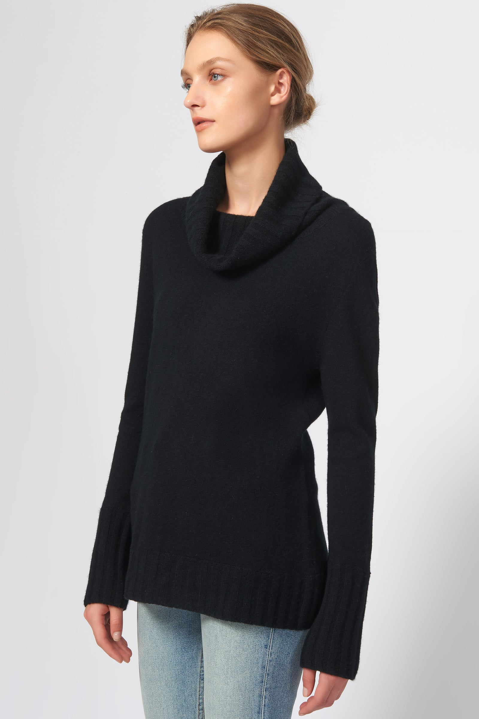 Kal Rieman Cashmere Cowel T-Neck in Black on Model Side View