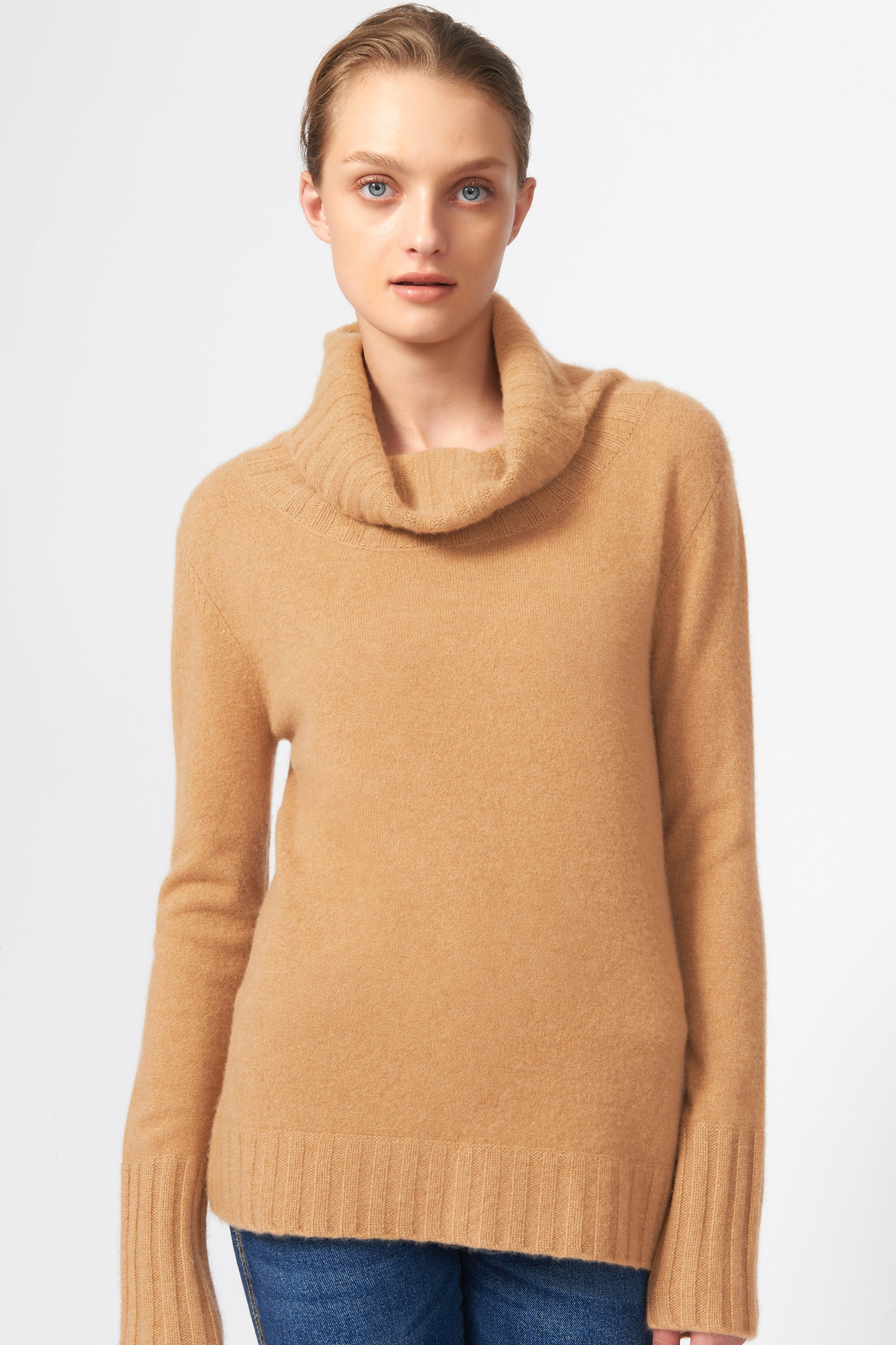 Kal Rieman Cashmere Cowel T-Neck in Camel on Model Front View