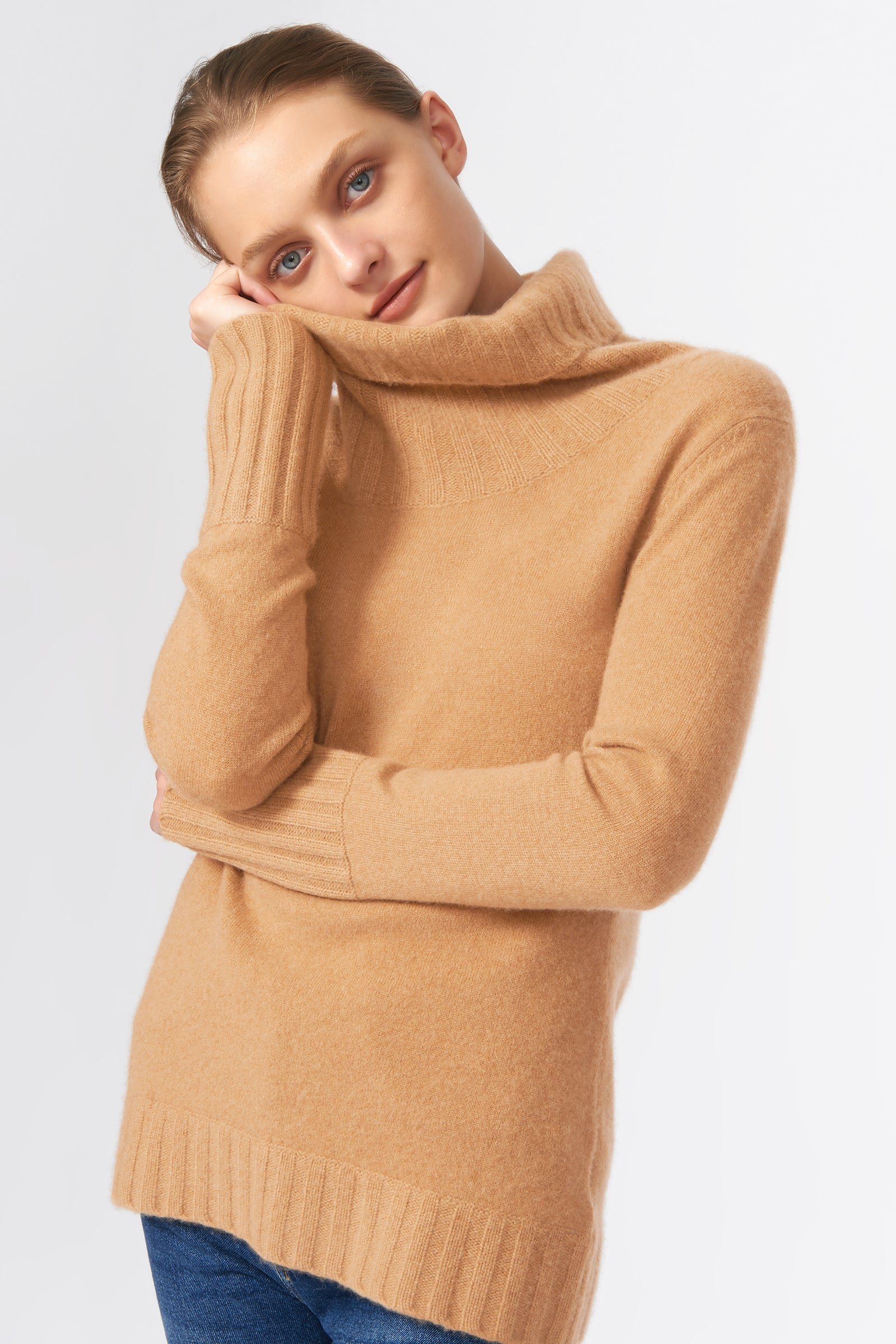 Kal Rieman Cashmere Cowel T-Neck in Camel on Model Detail View