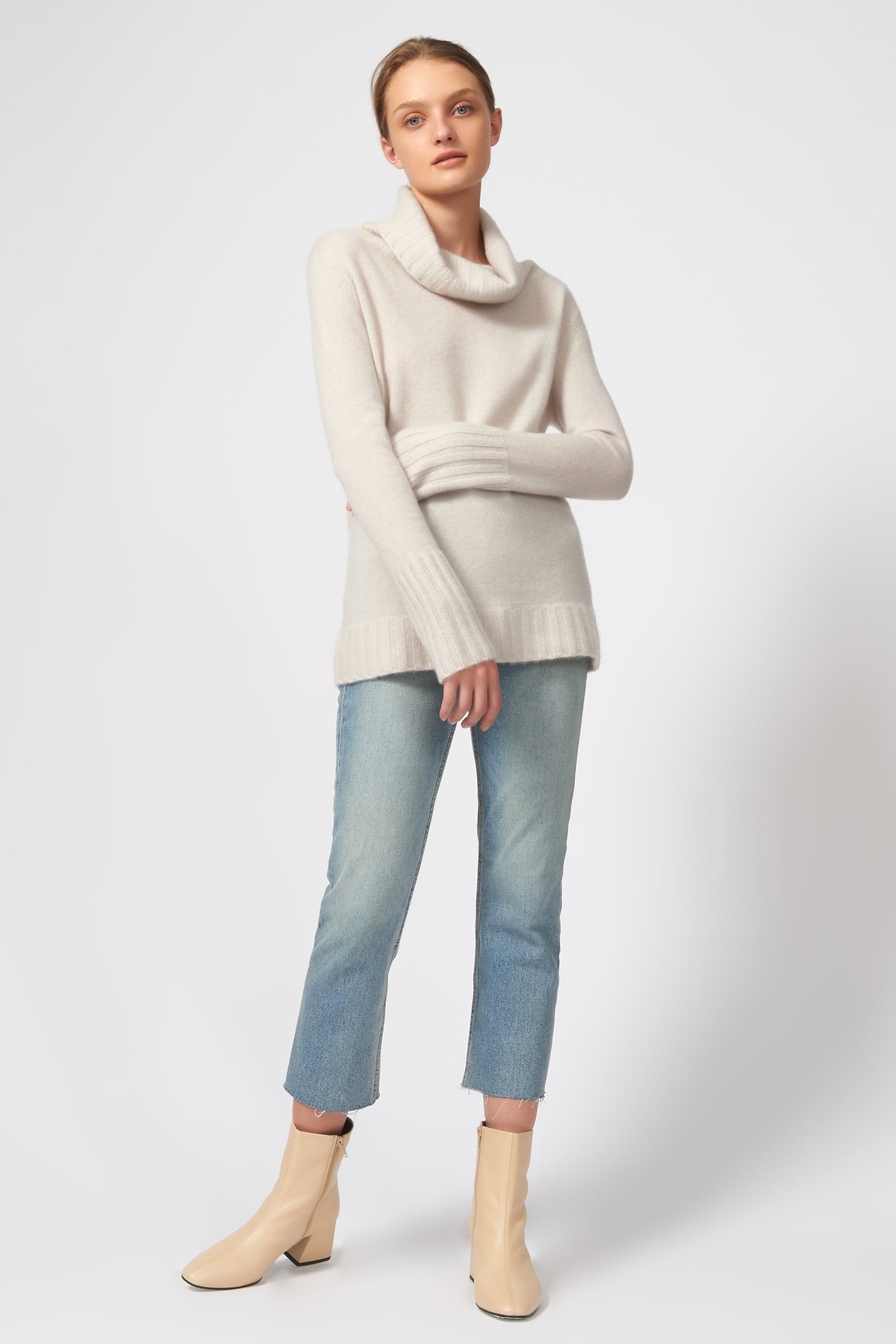 Kal Rieman Cashmere Cowel T-Neck in Haze on Model Front Full View