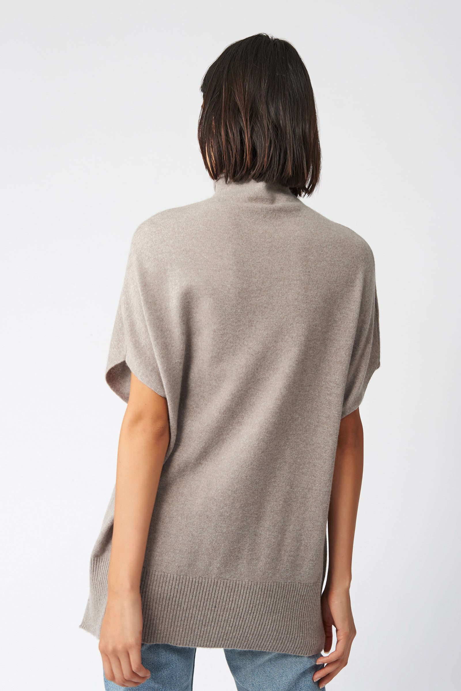 Kal Rieman Cashmere Funnelneck in Drft on Model Front View