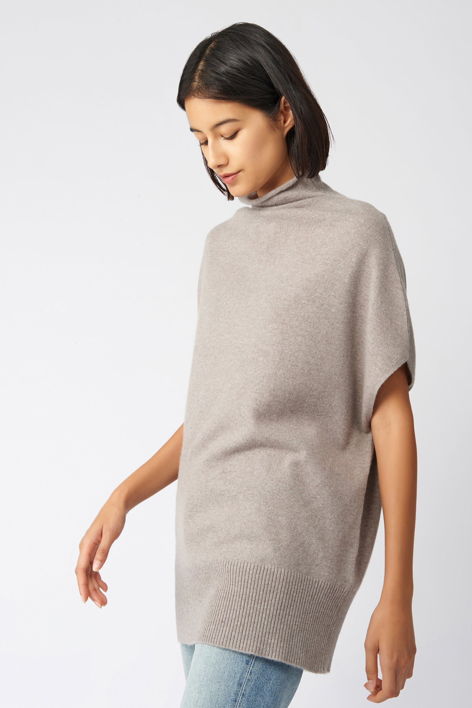 Kal Rieman Cashmere Funnelneck in Drft on Model Side View