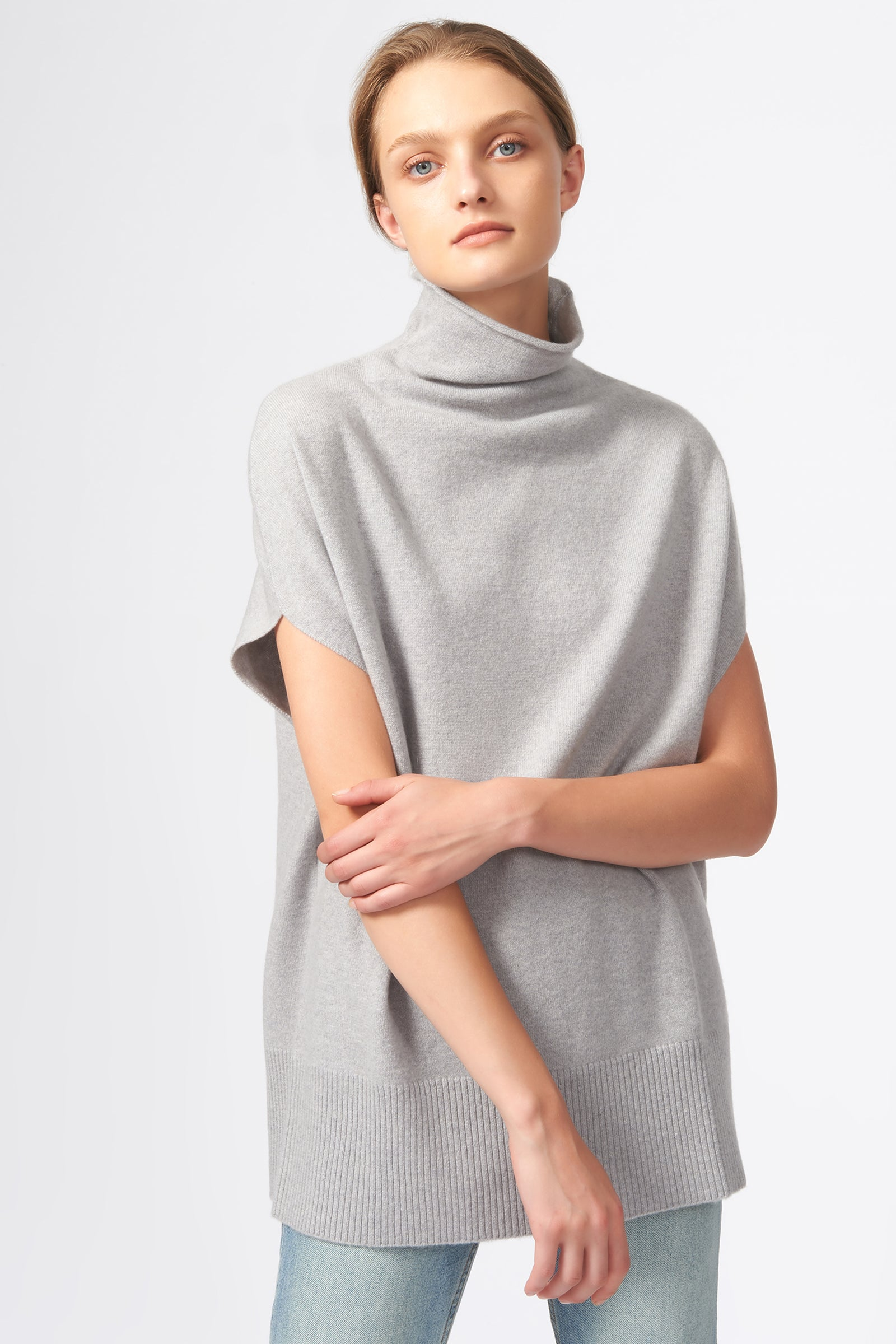 Kal Rieman Cashmere Funnelneck in Heather Grey on Model Front View