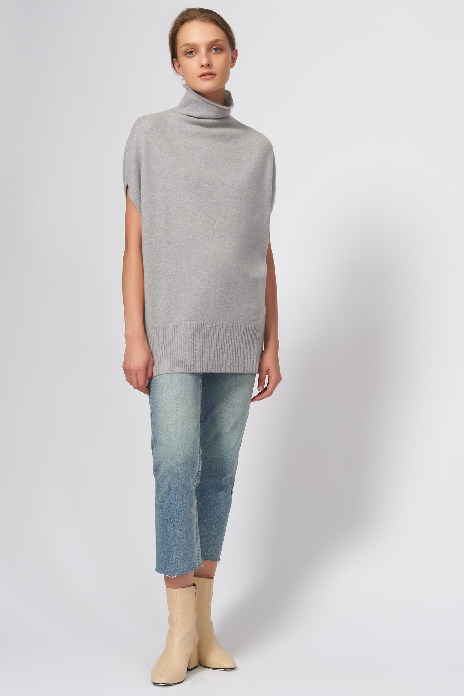Kal Rieman Cashmere Funnelneck in Heather Grey on Model Full Front View