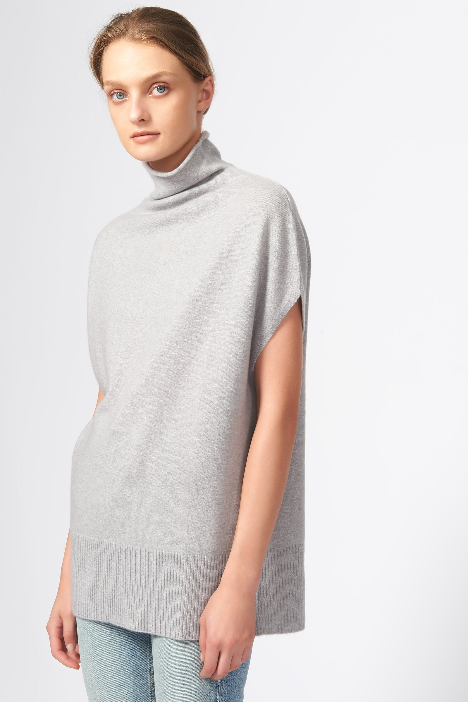 Kal Rieman Cashmere Funnelneck in Heather Grey on Model Front Side View