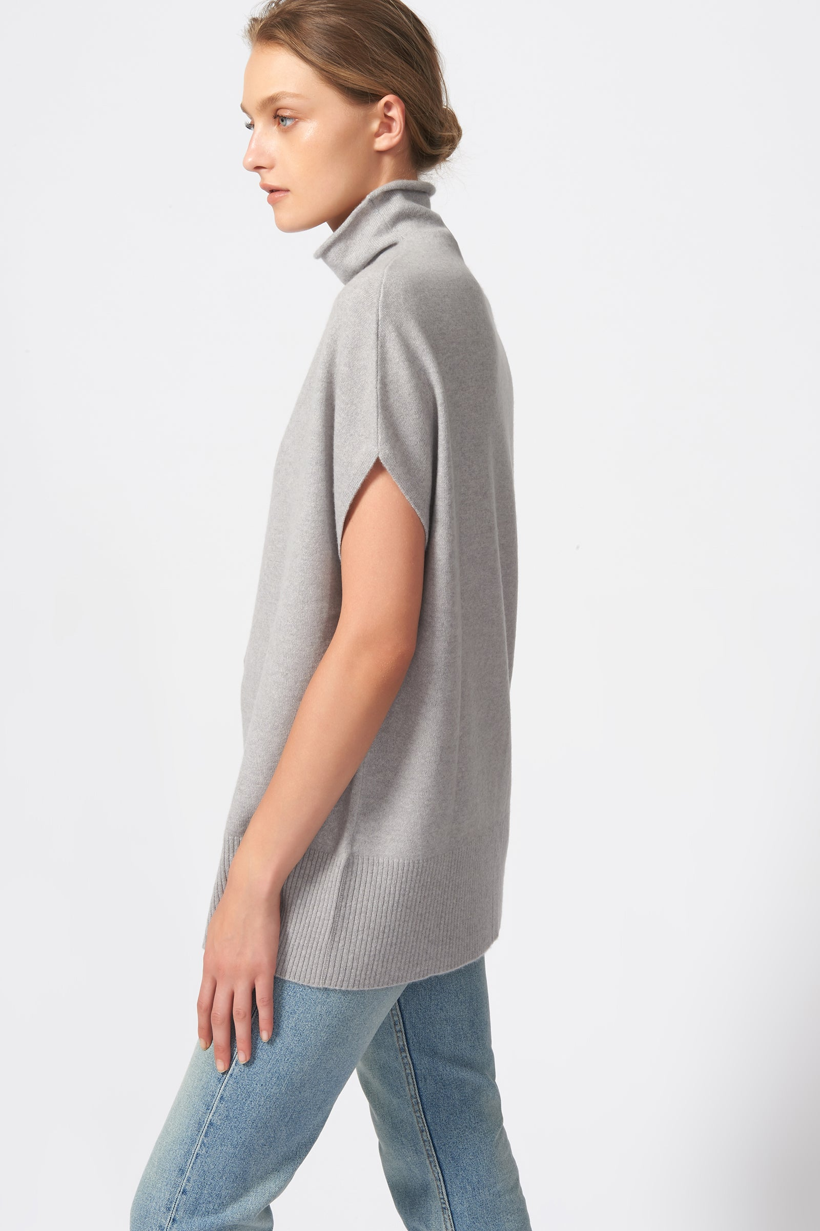 Kal Rieman Cashmere Funnelneck in Heather Grey on Model Side View