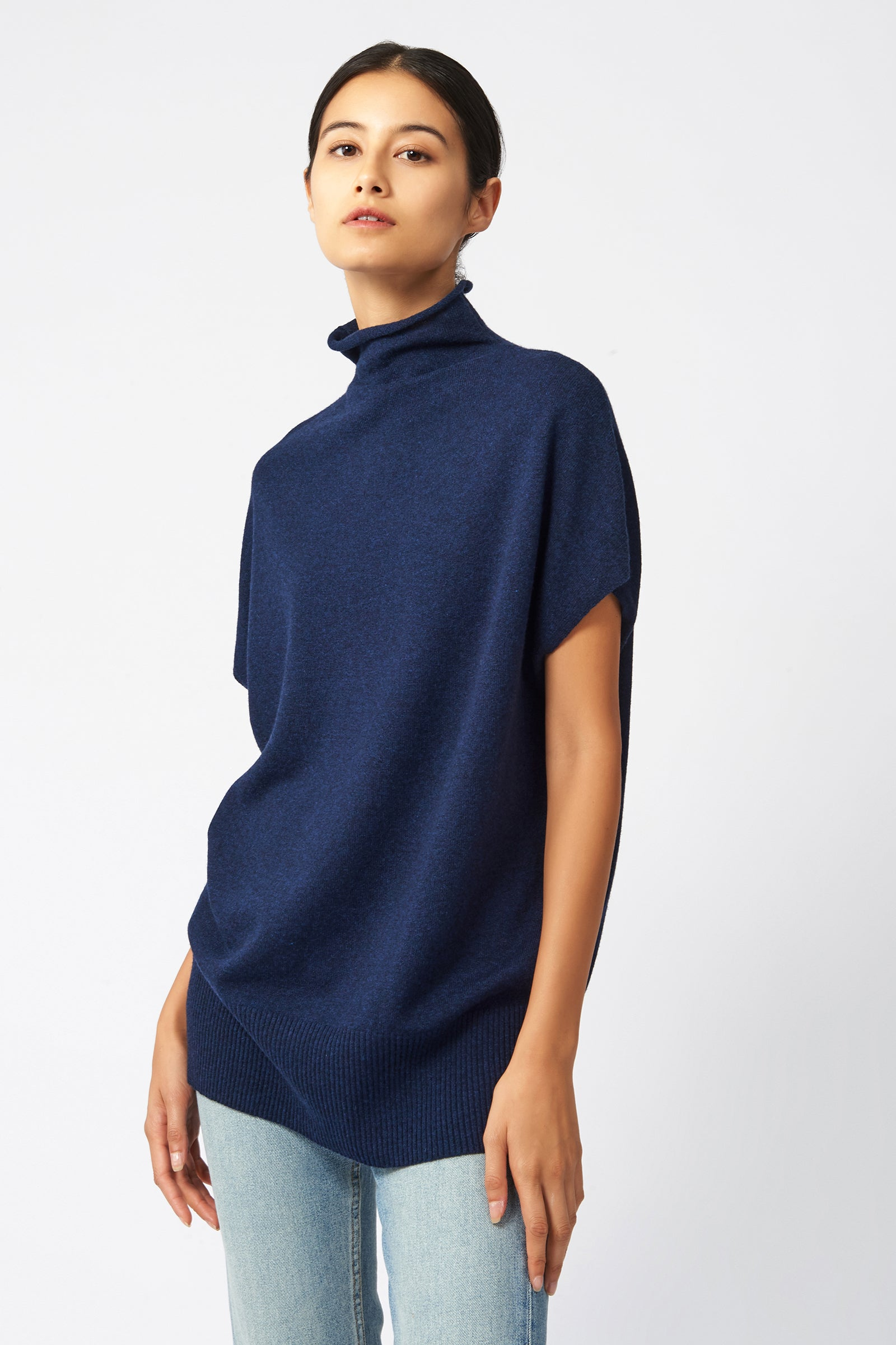 Kal Rieman Cashmere Funnelneck in Navy on Model Front Side View