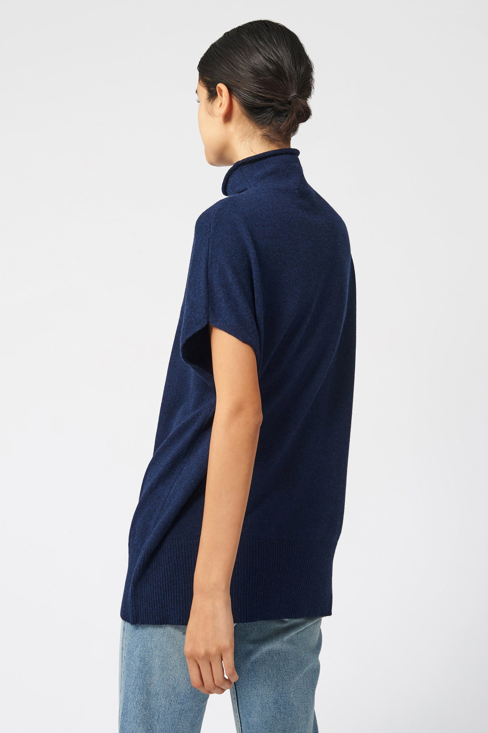 Kal Rieman Cashmere Funnelneck in Navy on Model Front View