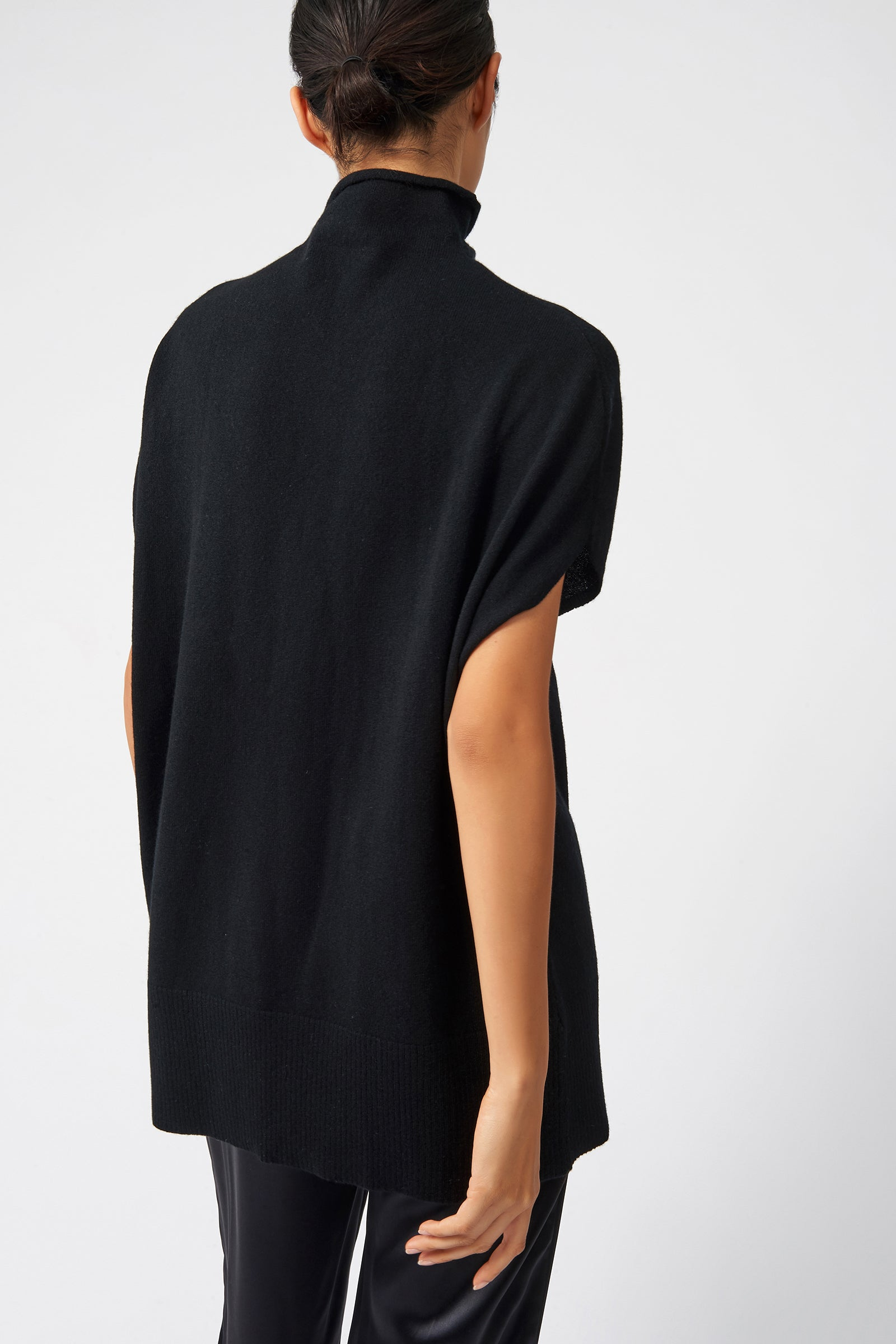 Kal Rieman Cashmere Funnelneck in Black on Model Back View