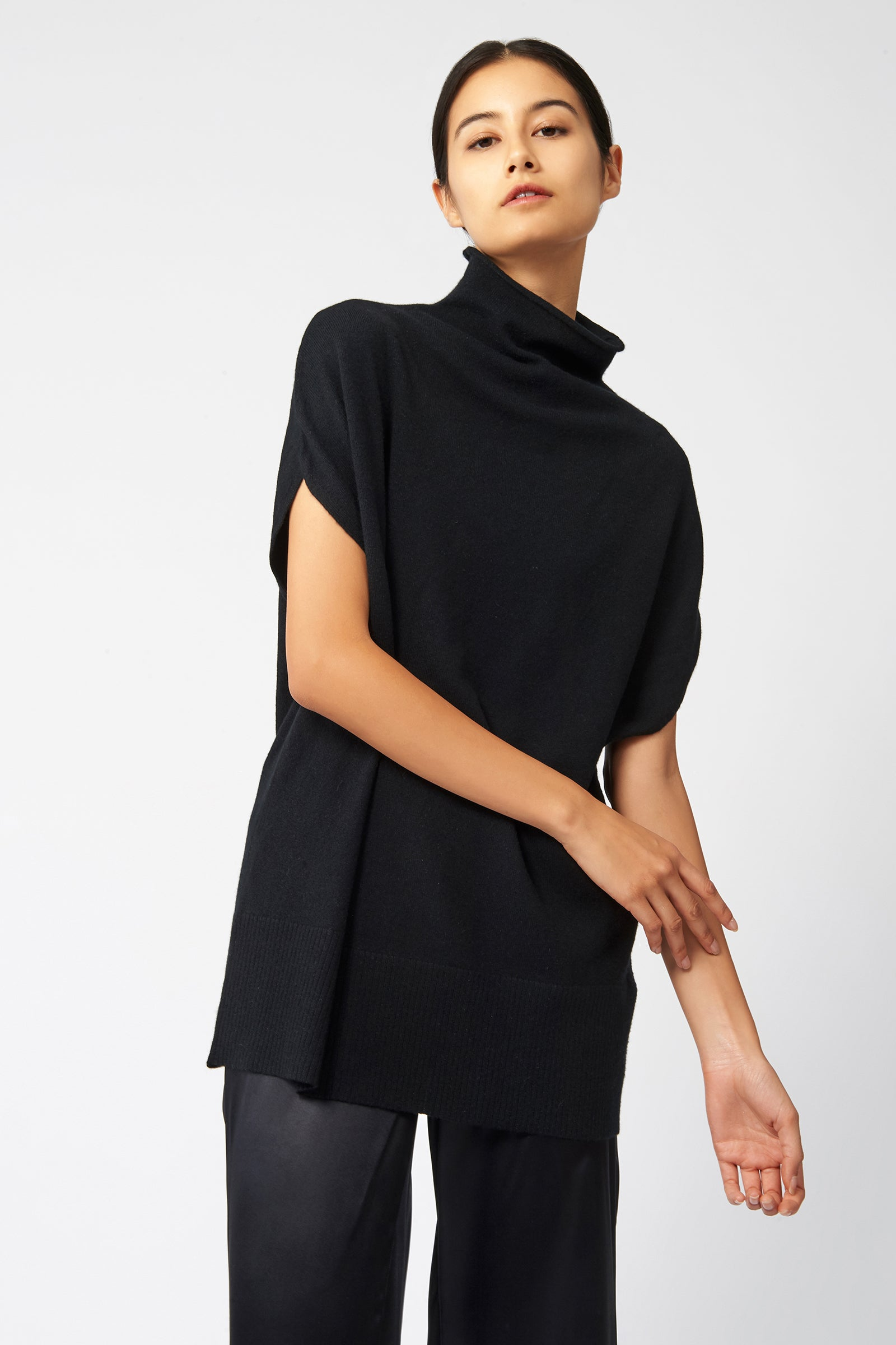 Kal Rieman Cashmere Funnelneck in Black on Model Front View