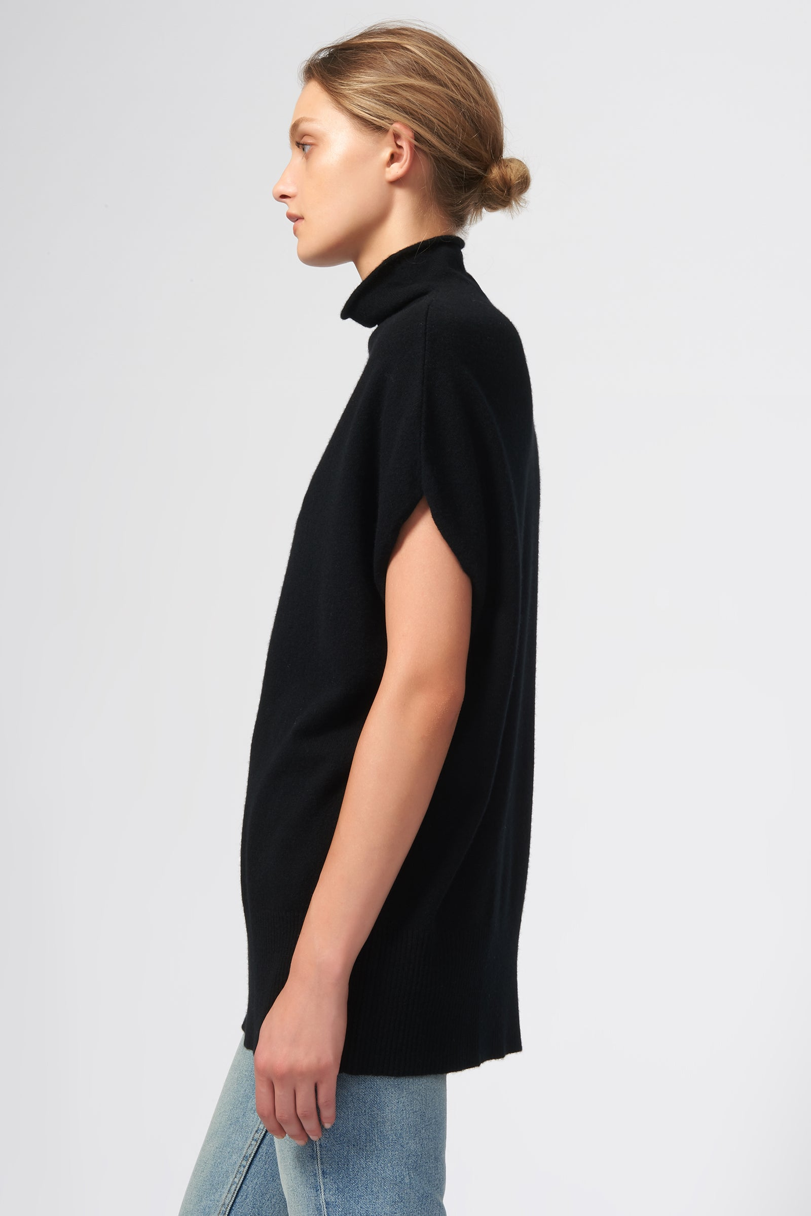 Kal Rieman Cashmere Funnelneck in Black on Model Side View