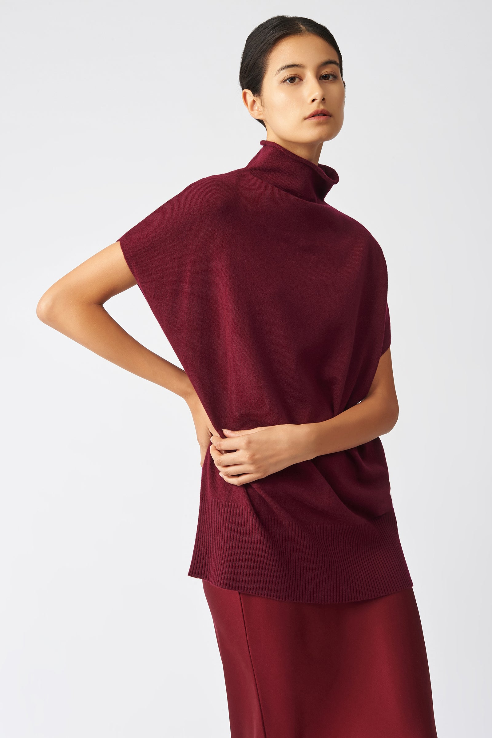 Kal Rieman Cashmere Funnelneck in Bordeaux on Model Front Side View