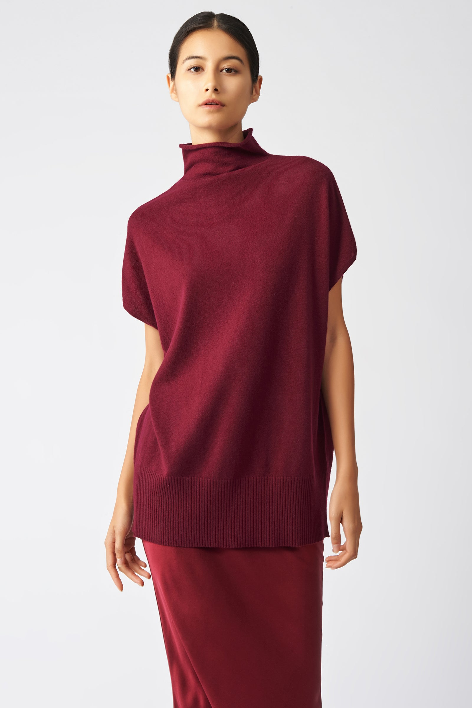 Kal Rieman Cashmere Funnelneck in Bordeaux on Model Front View