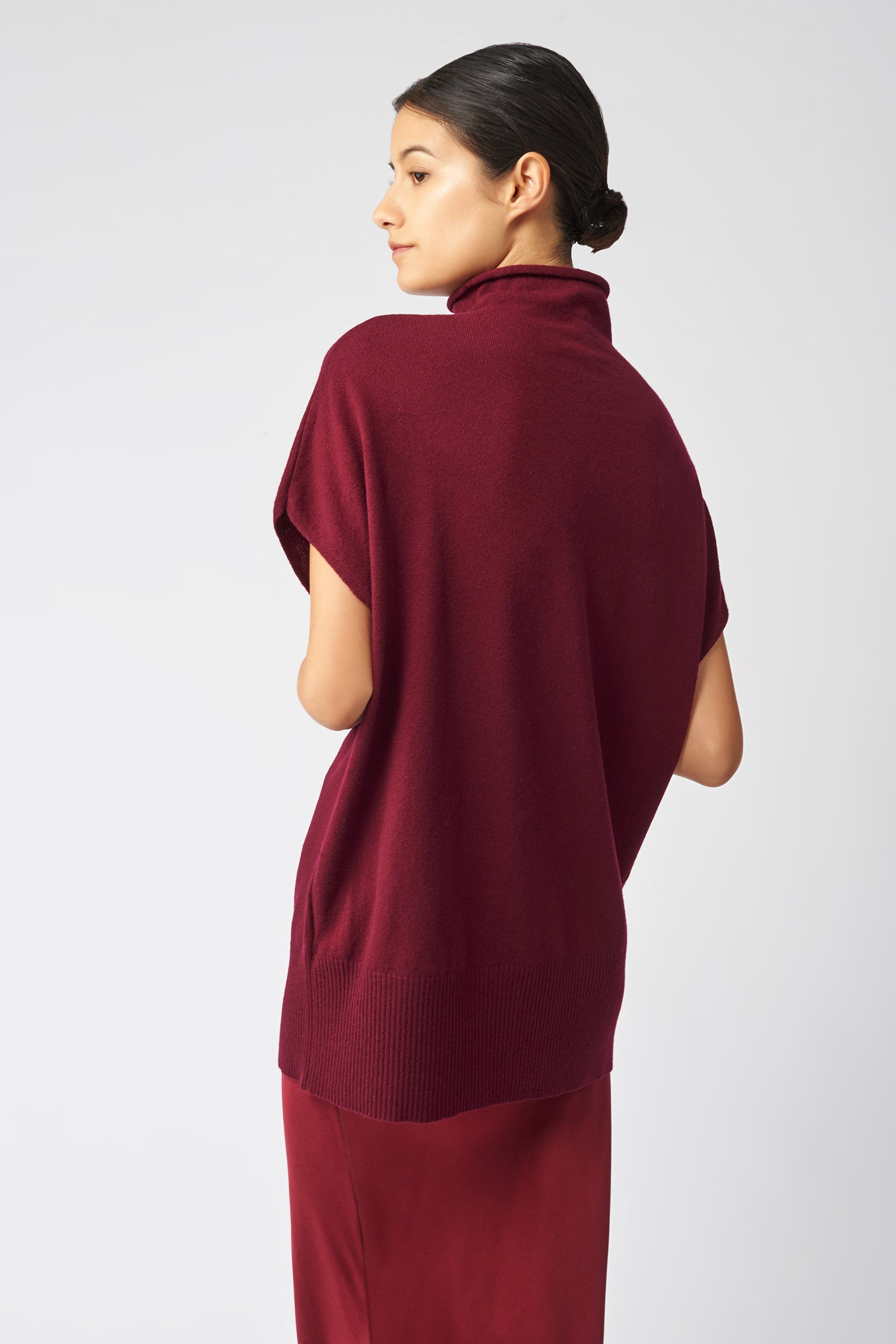 Kal Rieman Cashmere Funnelneck in Bordeaux on Model Back View