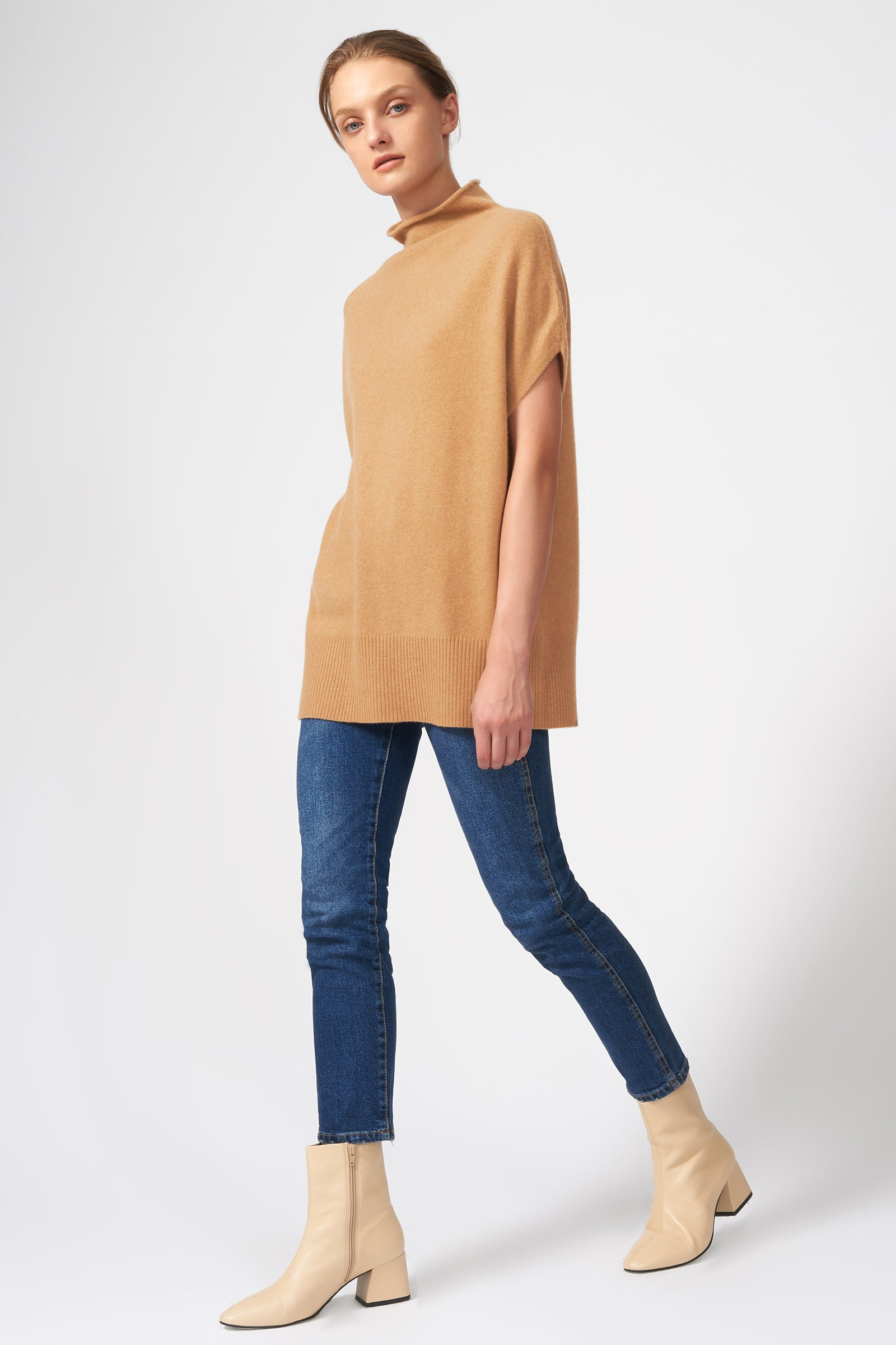 Kal Rieman Cashmere Funnelneck in Camel on Model Front View