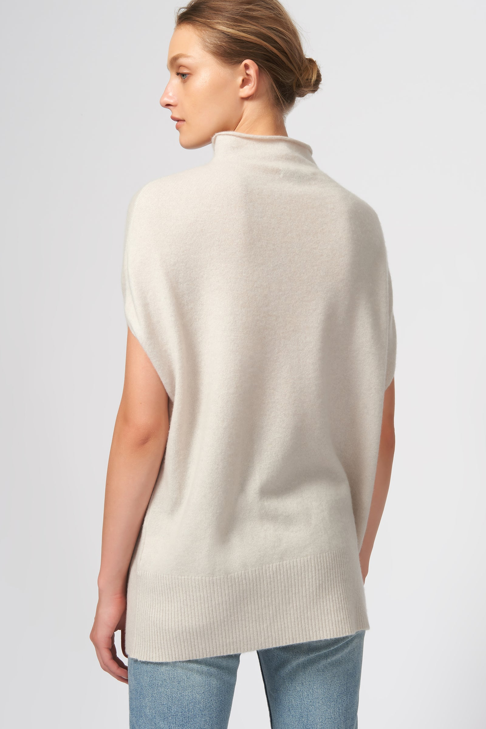Kal Rieman Cashmere Funnelneck in Haze on Model Front View
