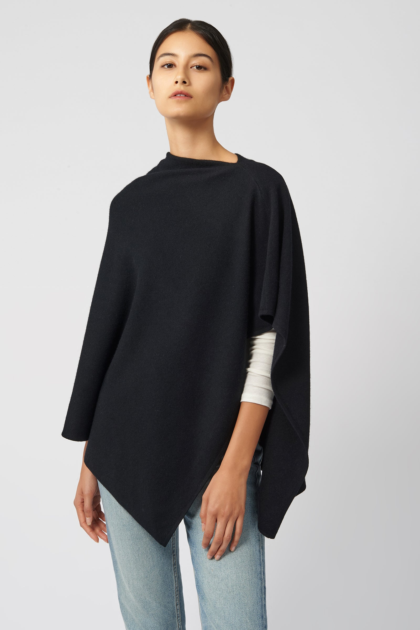 Kal Rieman Cashmere Poncho in Black on Model Front View