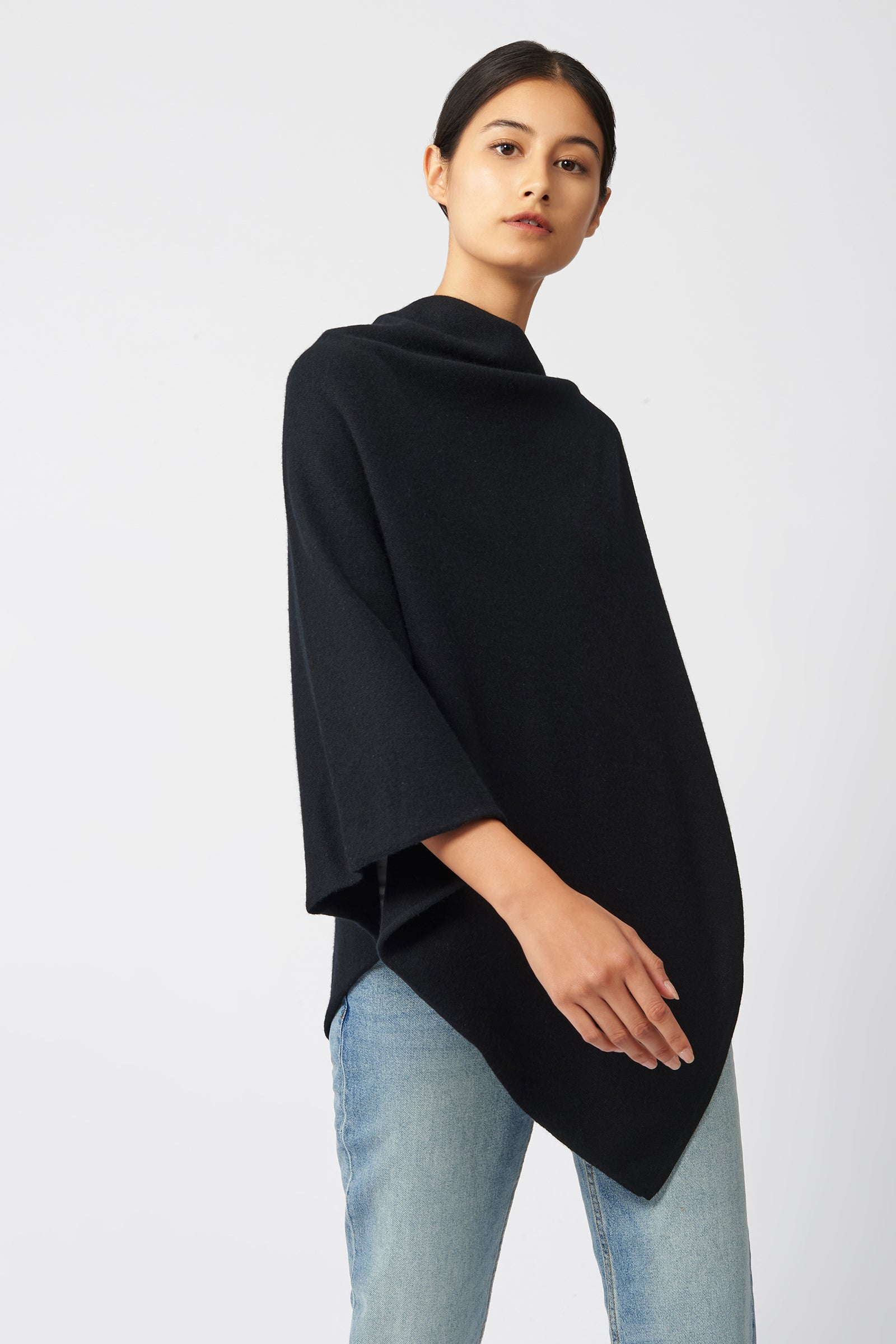 Kal Rieman Cashmere Poncho in Black on Model Side View