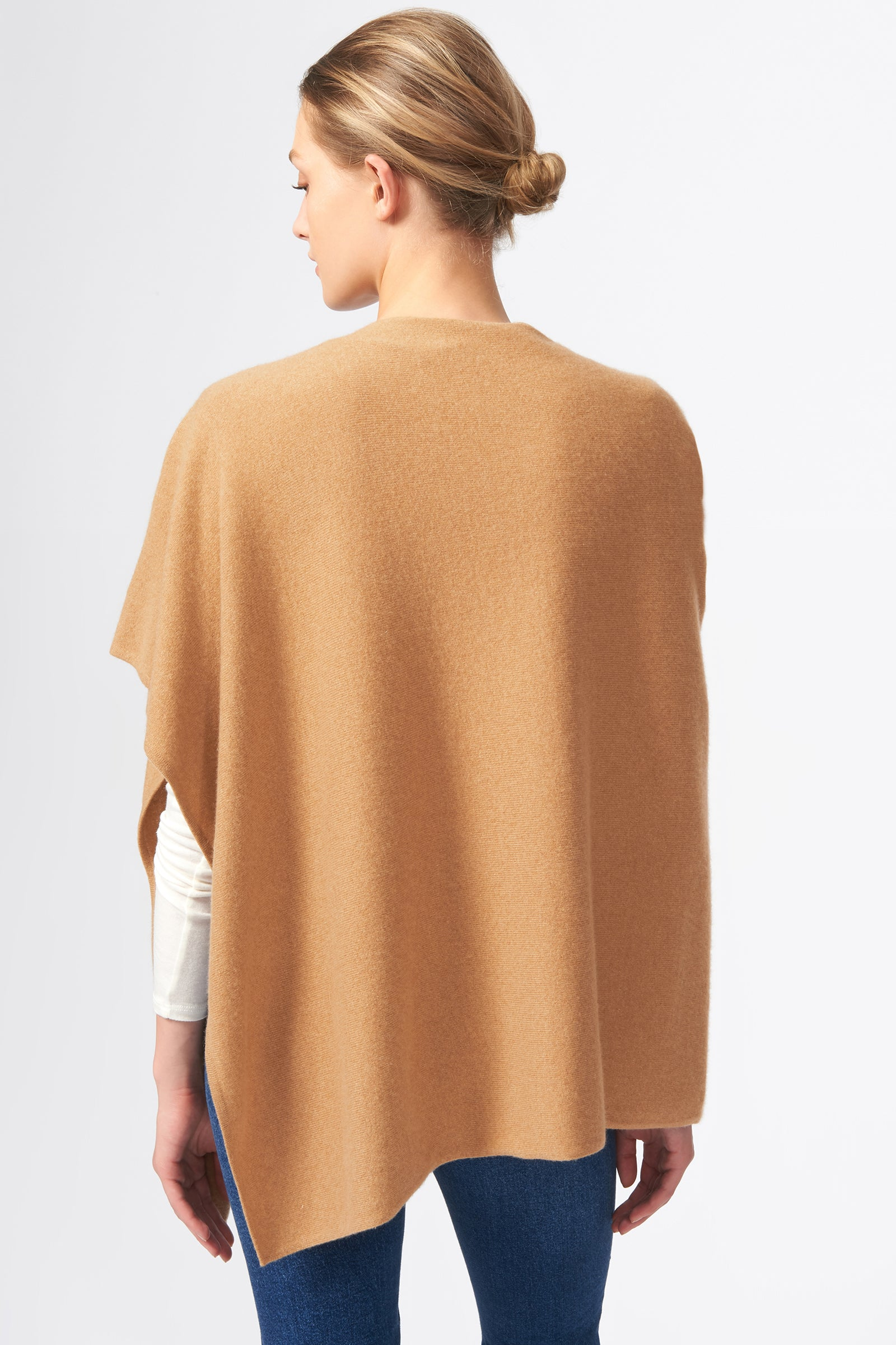 Kal Rieman Cashmere Poncho in Camel on Model Back View