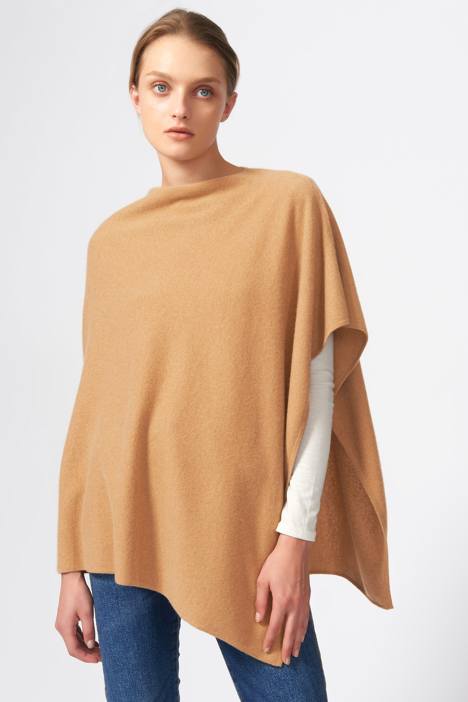Kal Rieman Cashmere Poncho in Camel on Model Front View