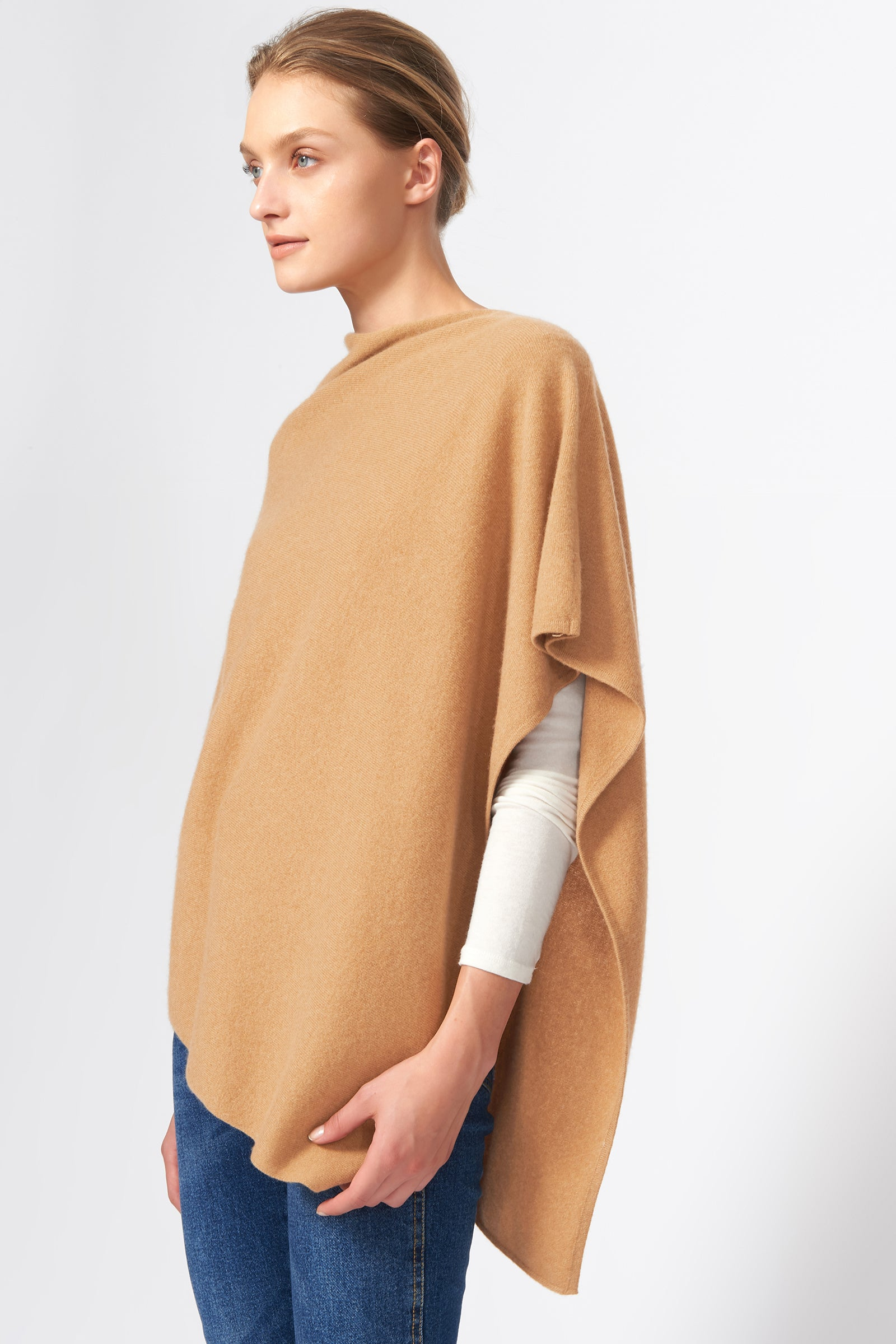 Kal Rieman Cashmere Poncho in Camel on Model Side View