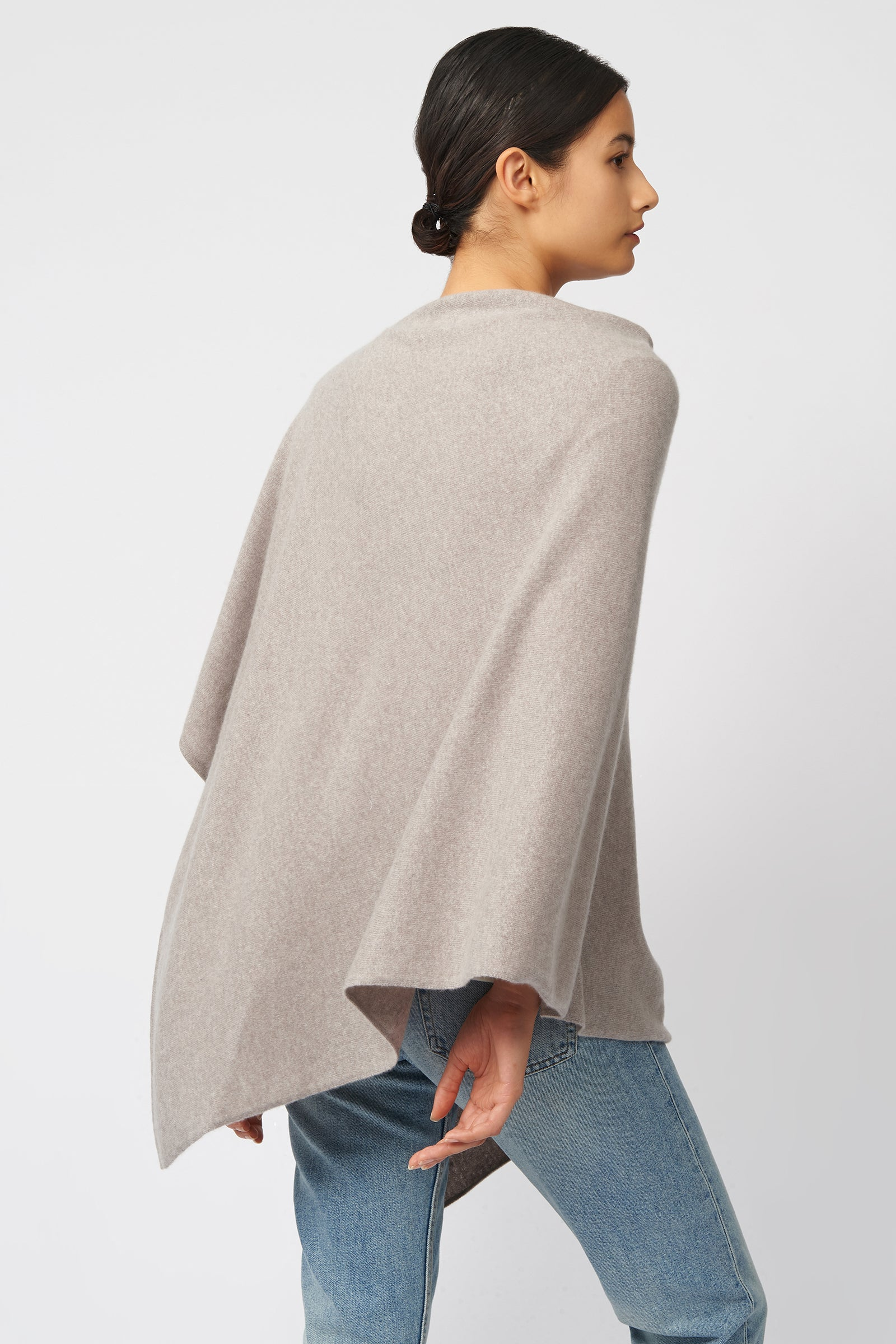 Kal Rieman Cashmere Poncho in Drift on Model Front Side View