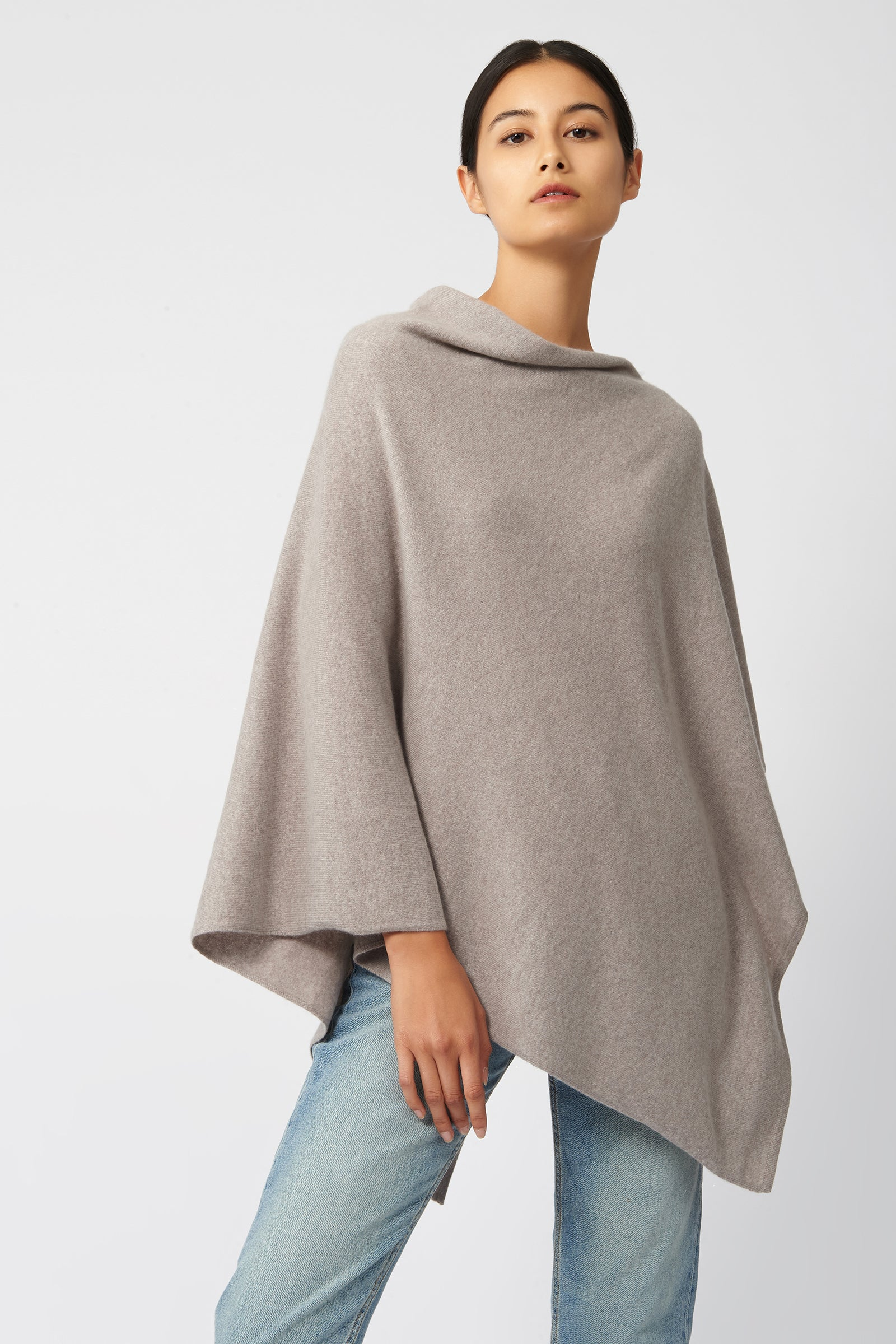 Kal Rieman Cashmere Poncho in Drift on Model Front View