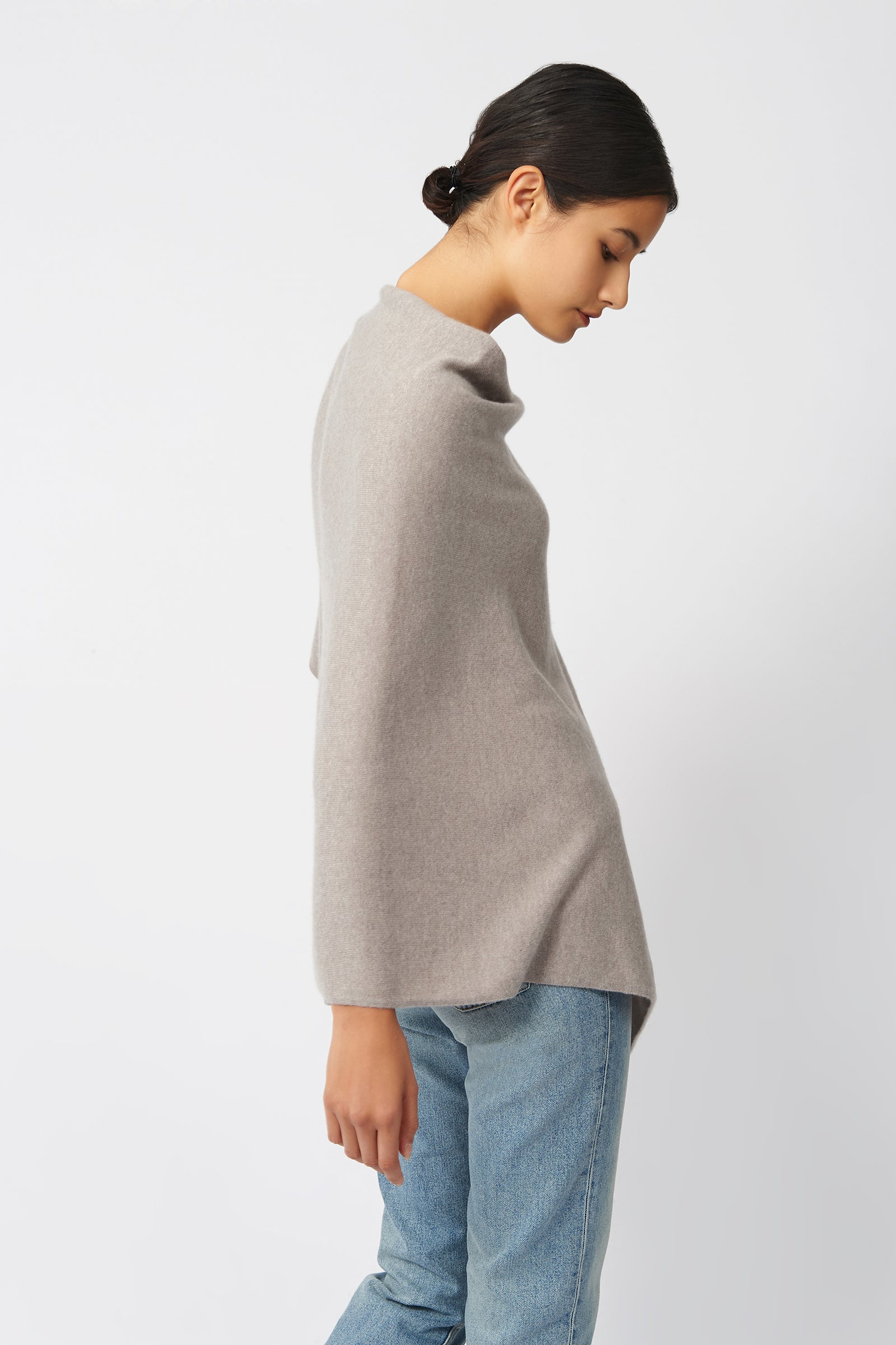 Kal Rieman Cashmere Poncho in Drift on Model Side View