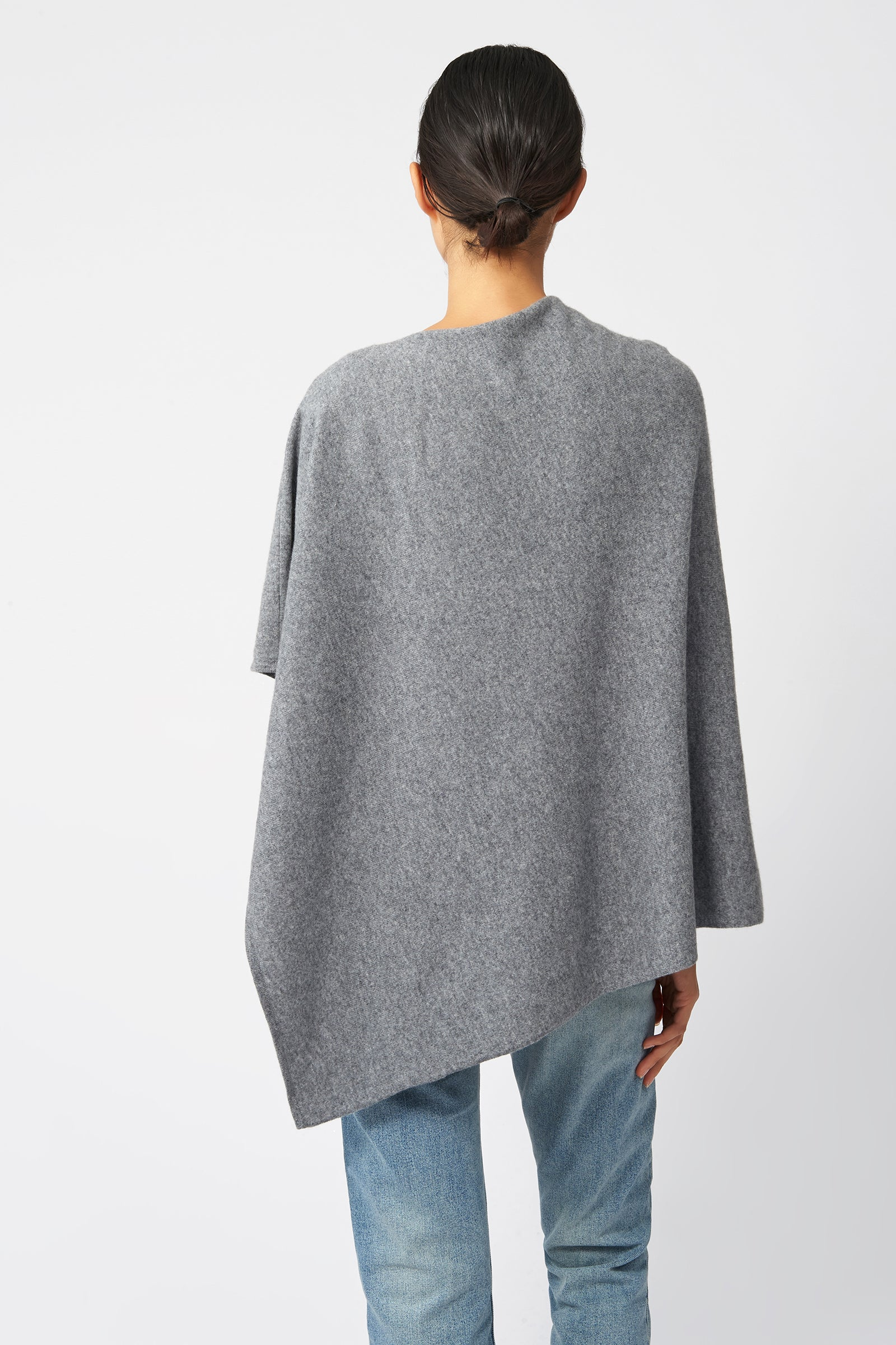 Kal Rieman Cashmere Poncho in Grey Flannel on Model Back View