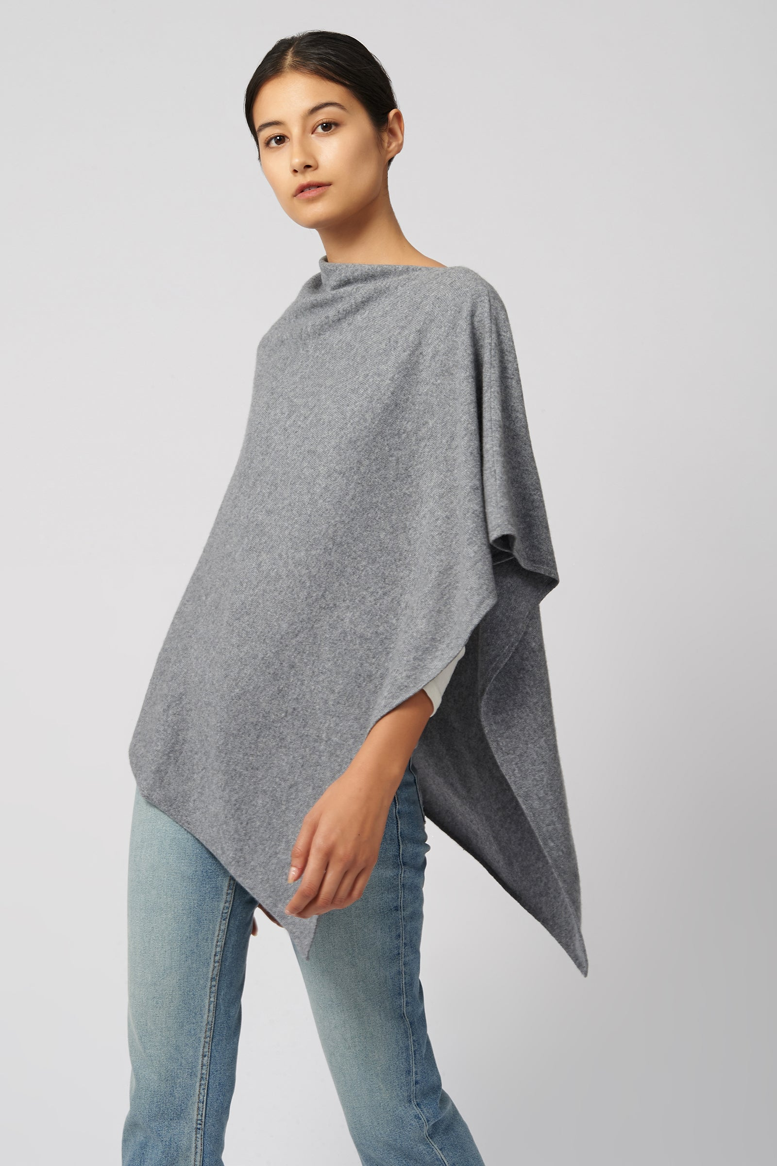 Kal Rieman Cashmere Poncho in Grey Flannel on Model Side View