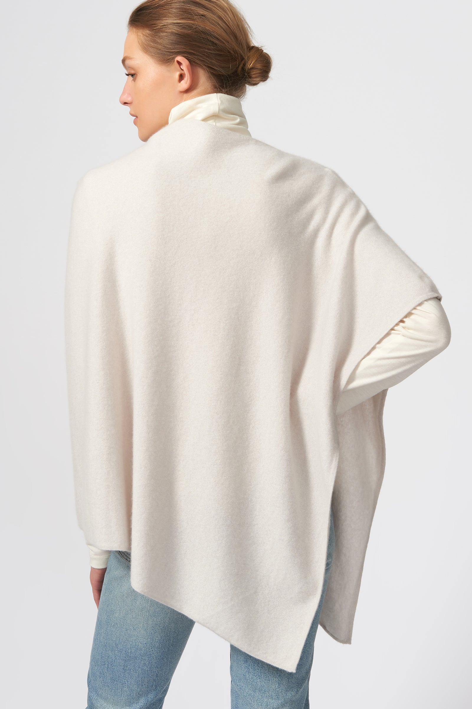 Kal Rieman Cashmere Poncho in Haze on Model Back View