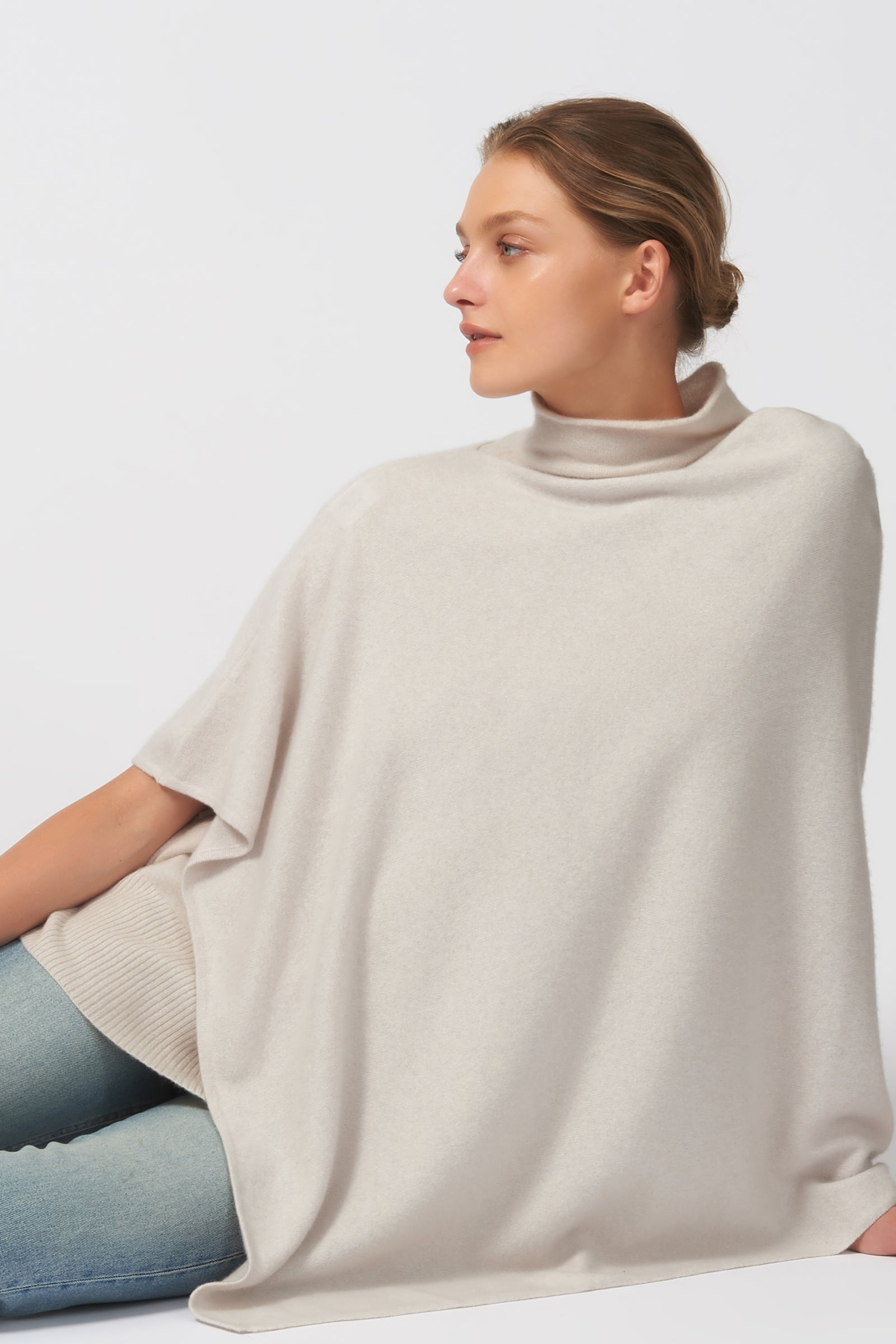 Kal Rieman Cashmere Poncho in Haze on Model Detail View