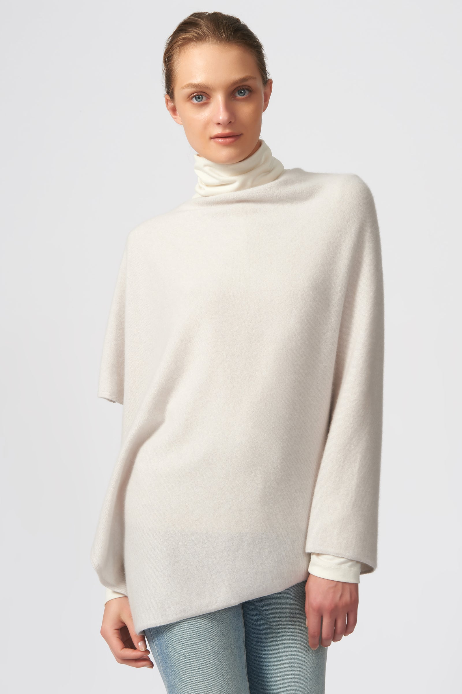 Kal Rieman Cashmere Poncho in Haze on Model Front View