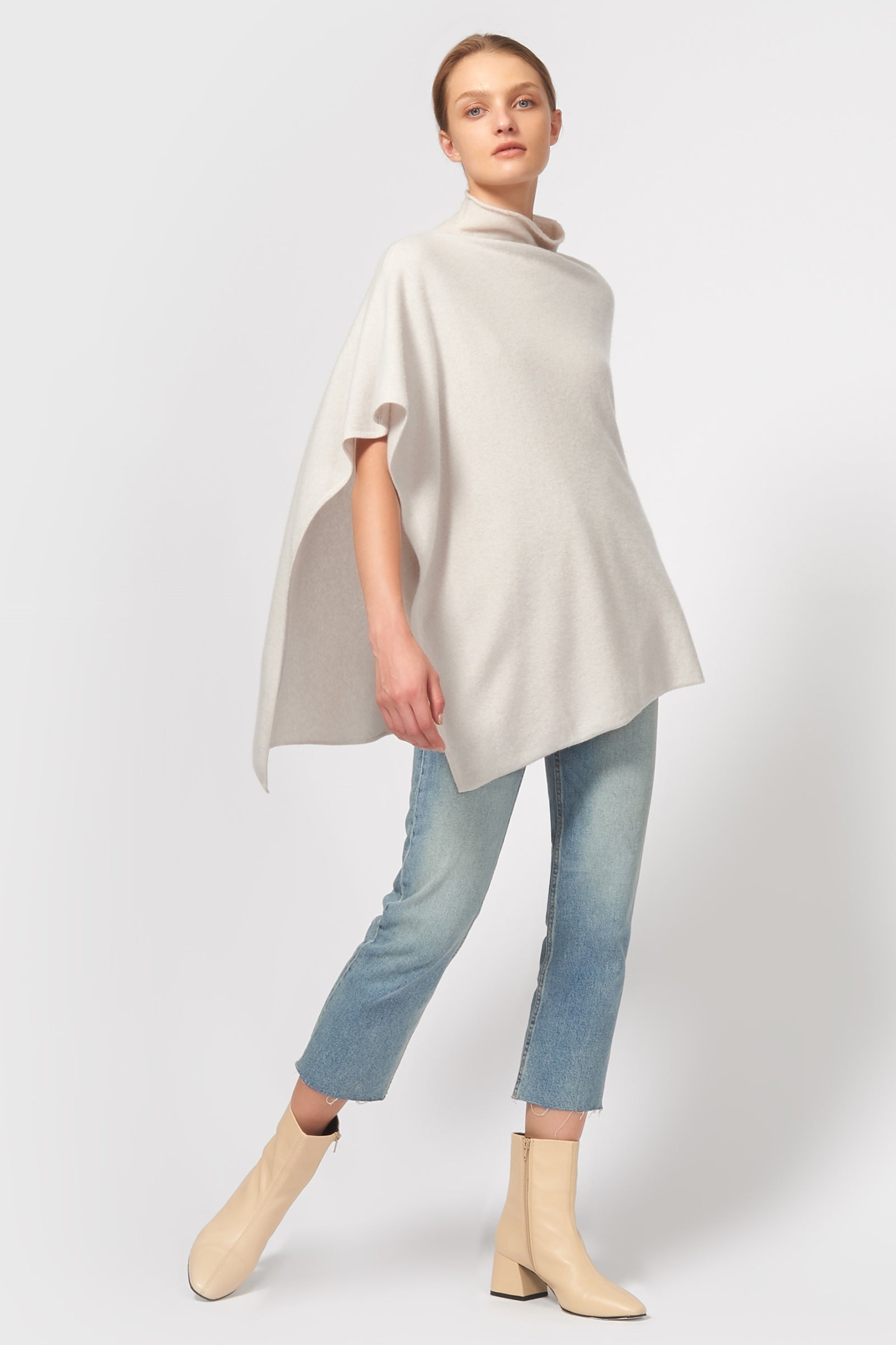 Kal Rieman Cashmere Poncho in Haze on Model Front Full View