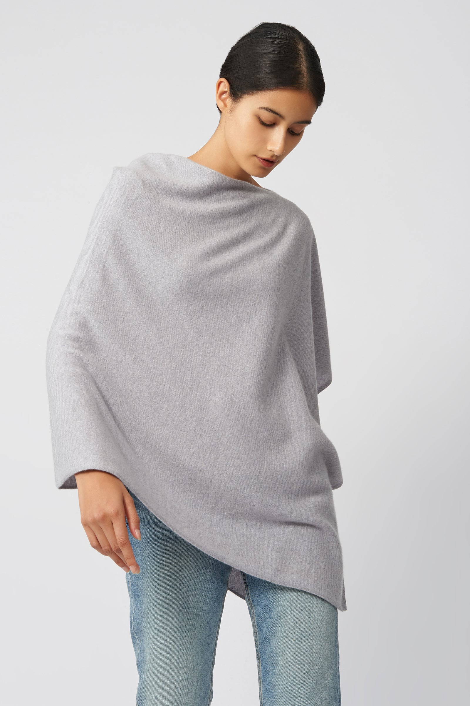 Kal Rieman Cashmere Poncho in Grey Heather on Model Side View