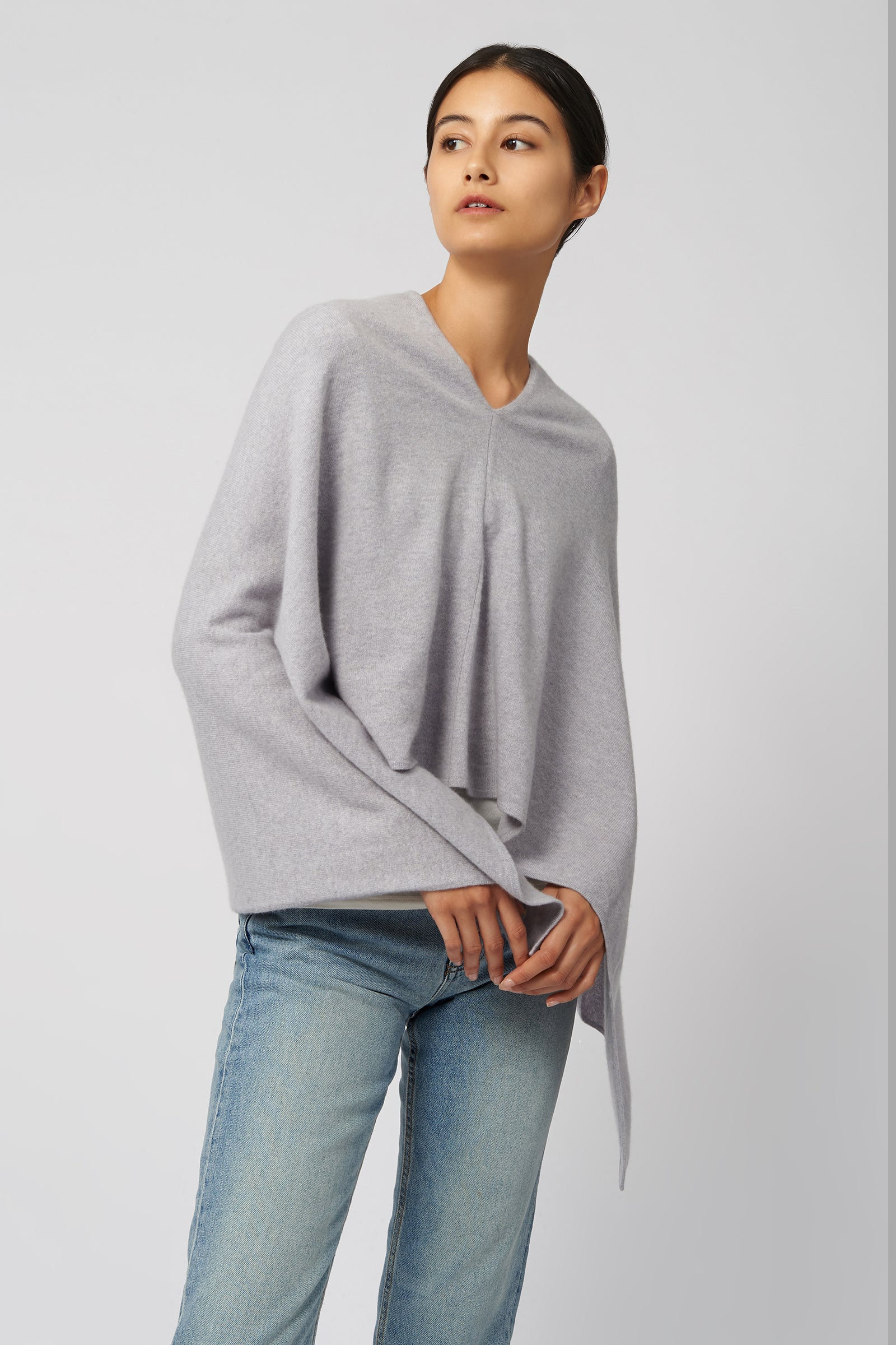 Kal Rieman Cashmere Poncho in Grey Heather on Model Front View