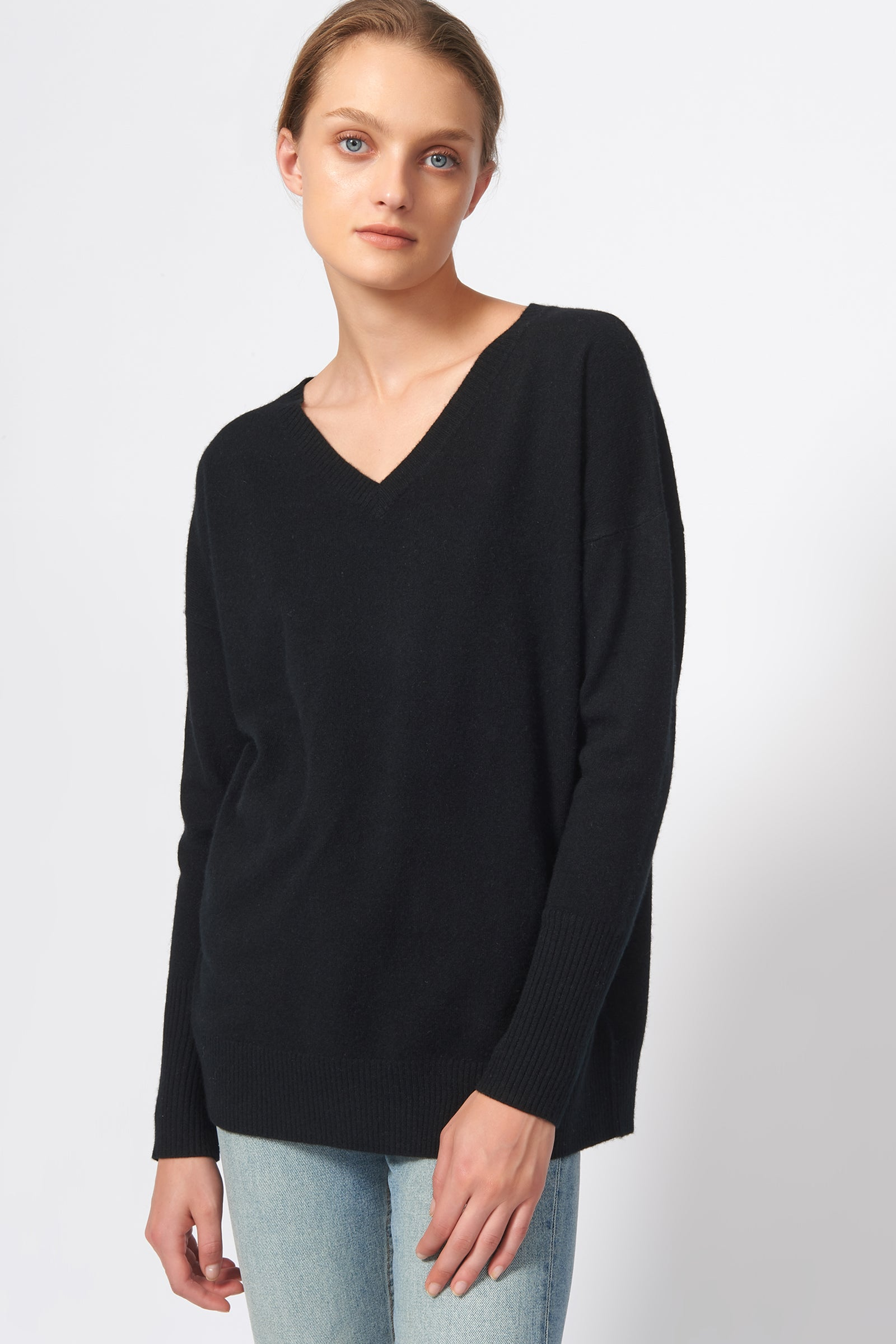 Kal Rieman Cashmere V Neck in Black on Model Front View
