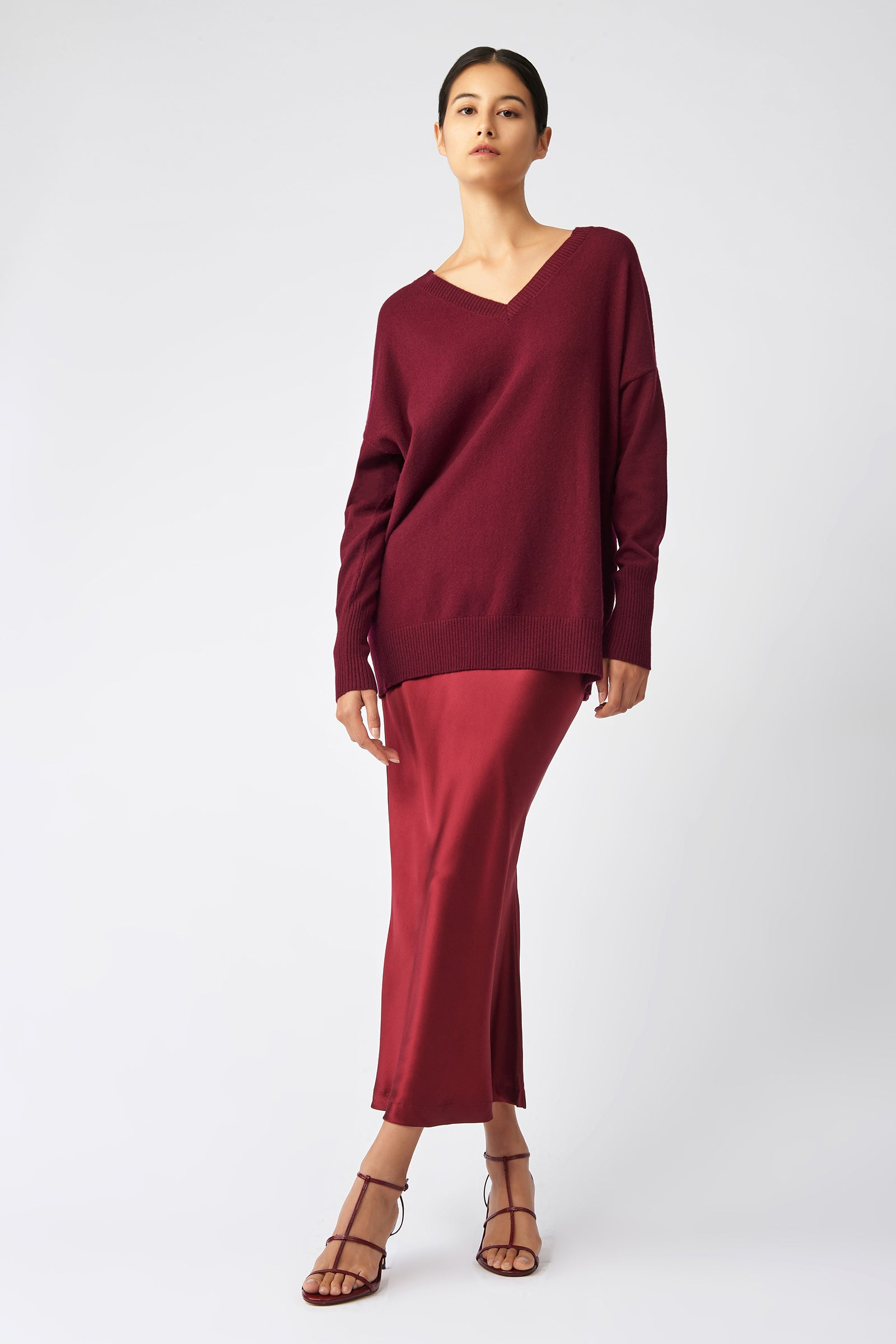 Kal Rieman Cashmere V Neck in Bordeaux on Model Full Front View