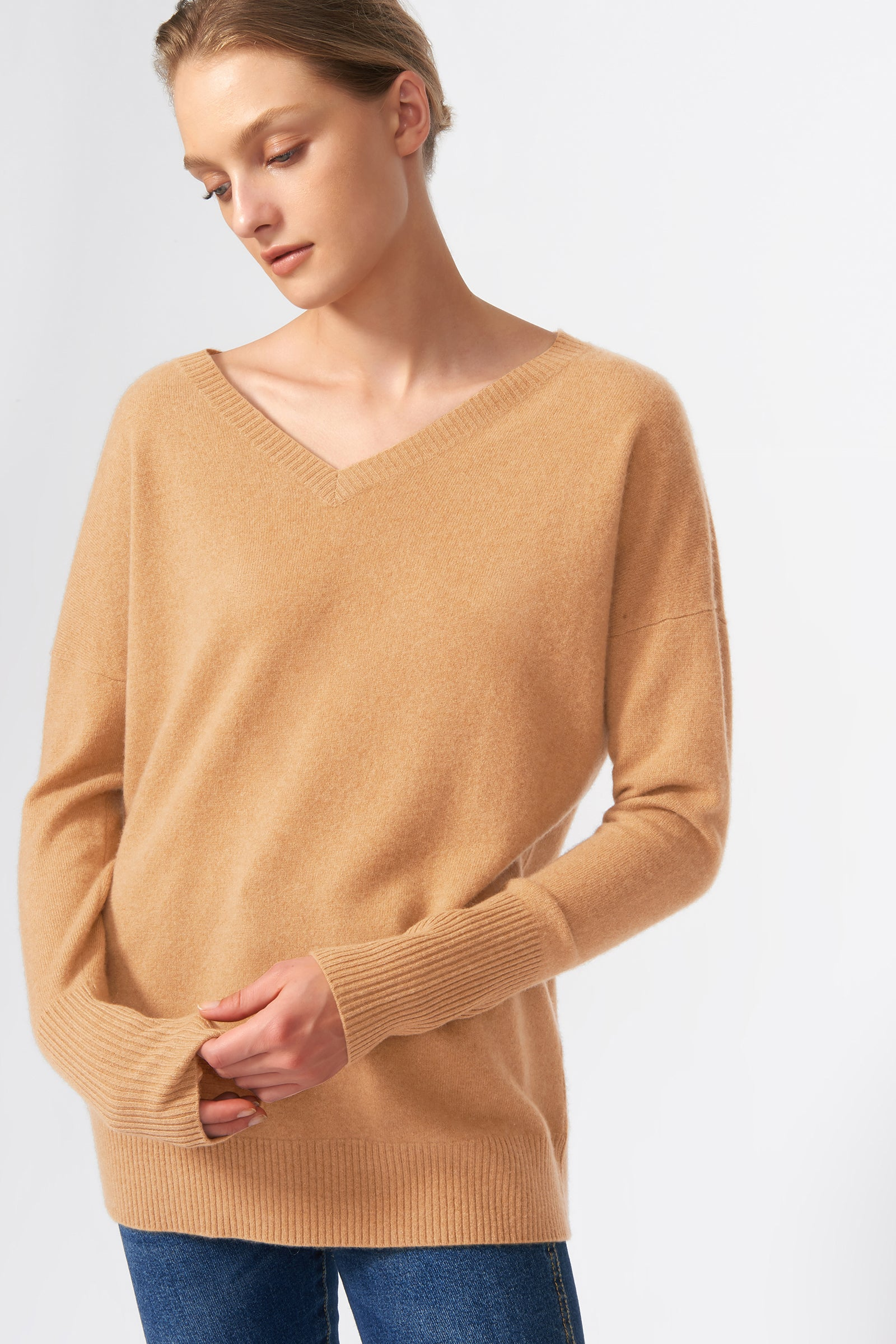Kal Rieman Cashmere V Neck in Camel on Model Front View