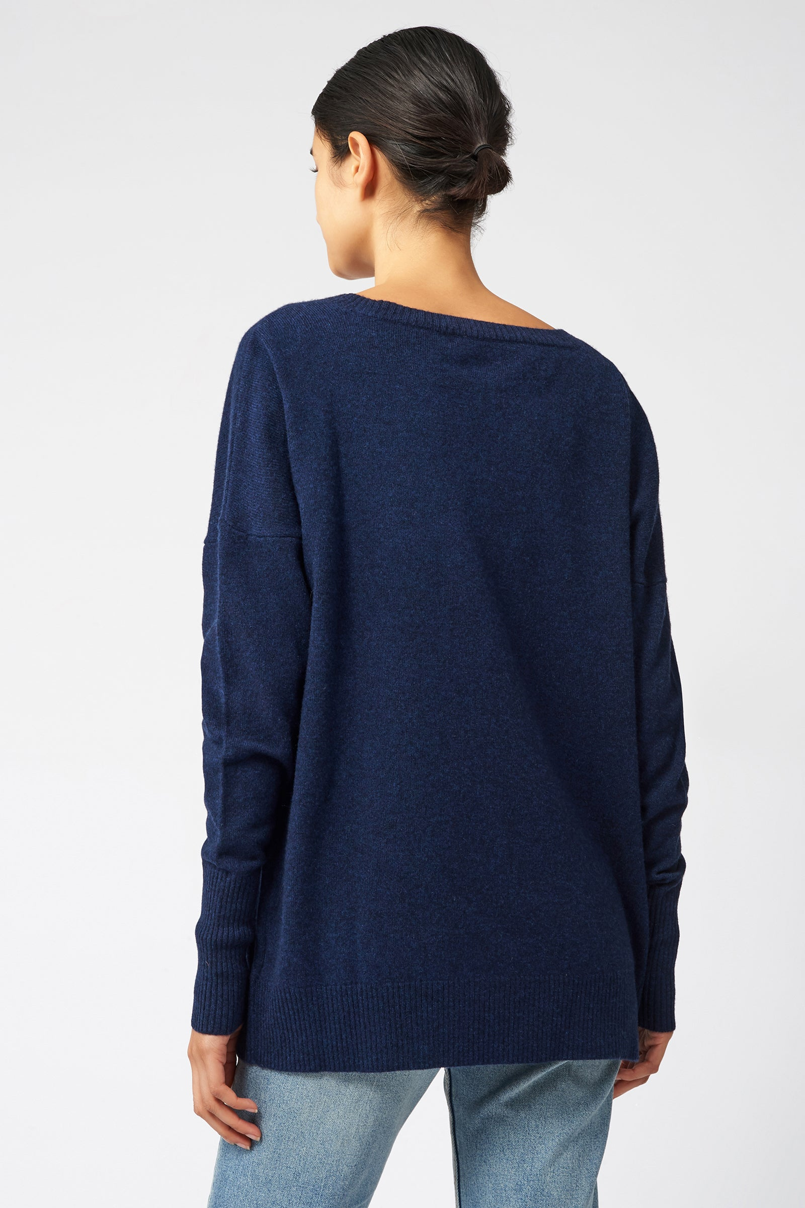 Kal Rieman Cashmere V Neck in Navy on Model Back View