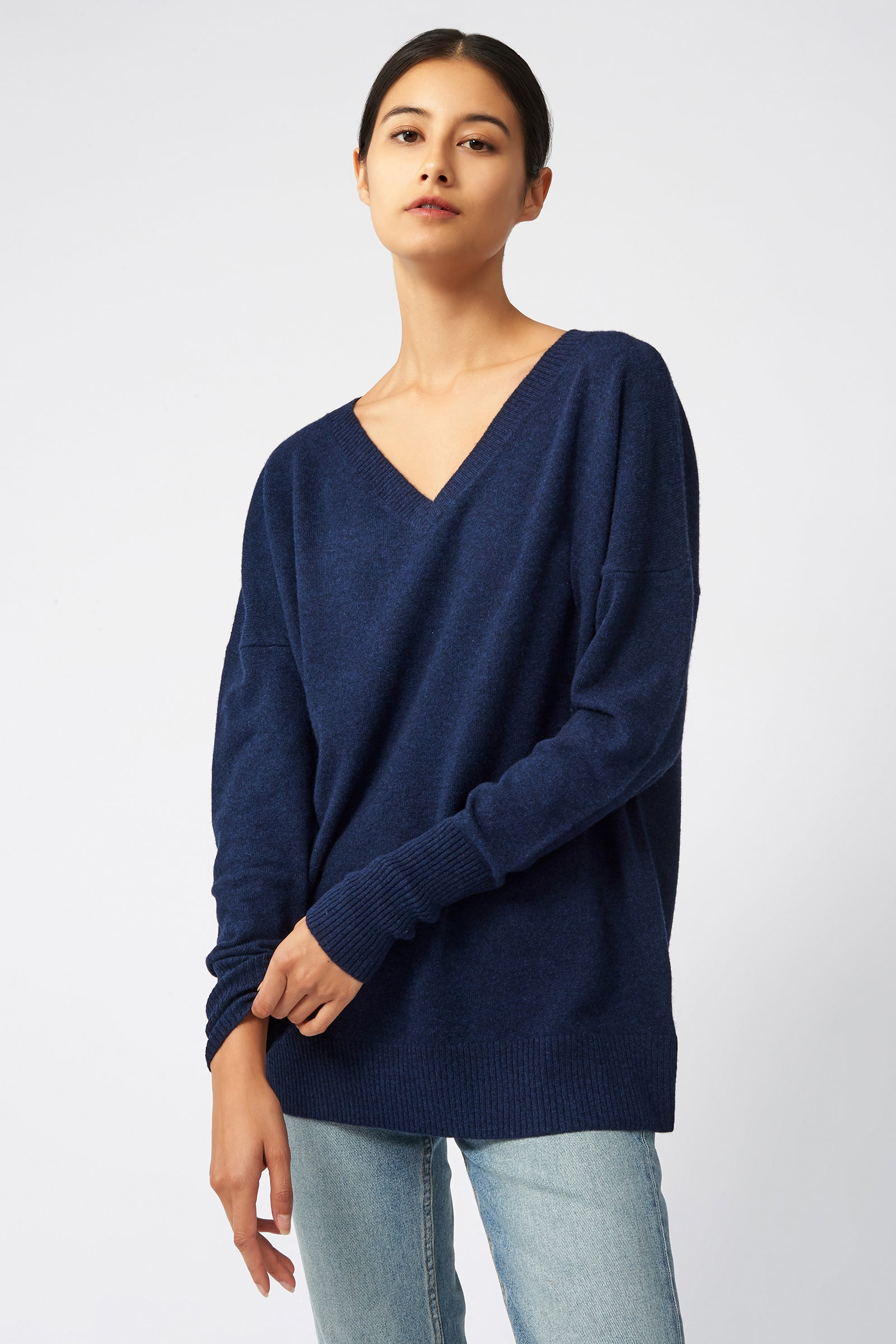 Kal Rieman Cashmere V Neck in Navy on Model Front View