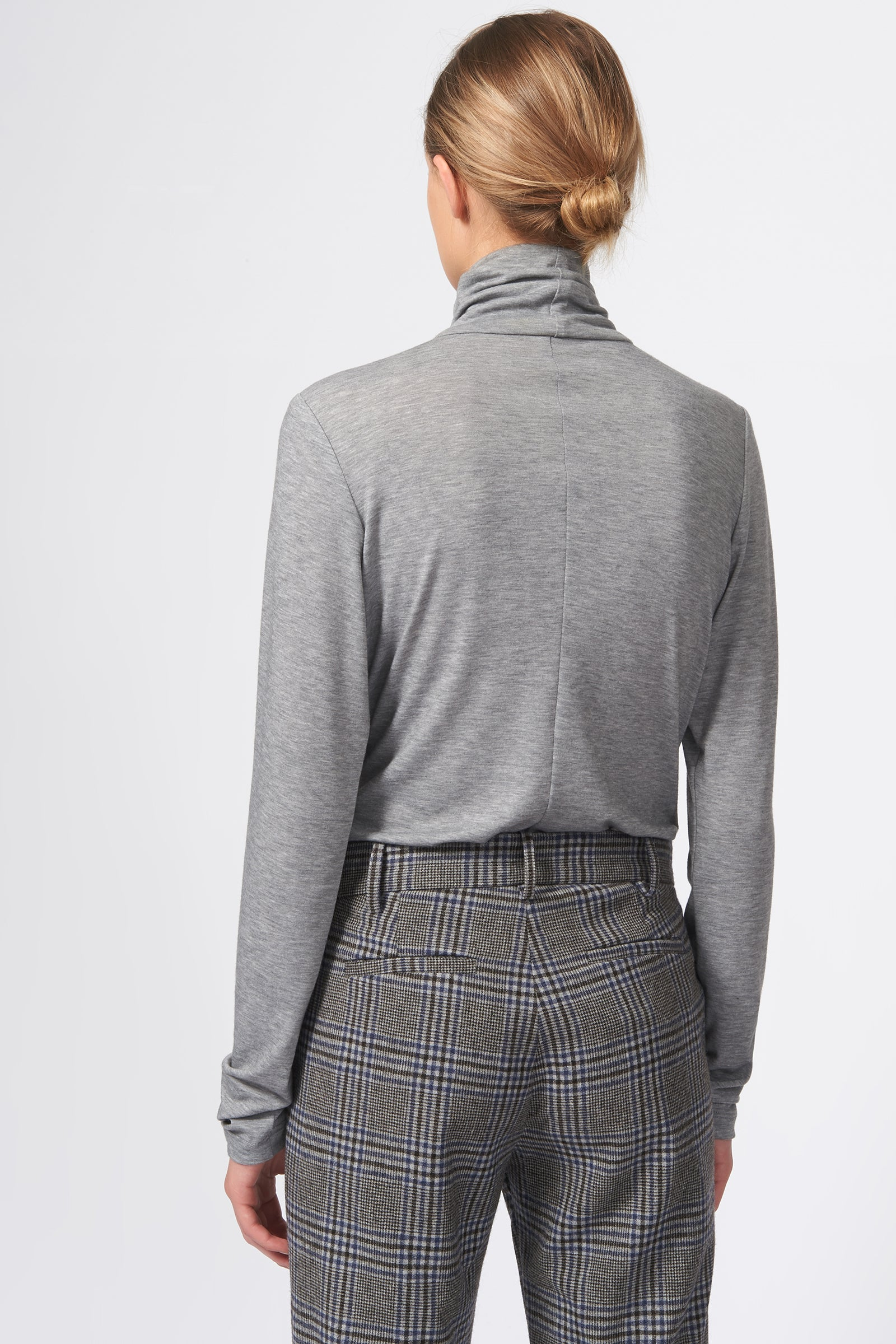 Kal Rieman Cigarette Pant in Grey Plaid on Model Back View