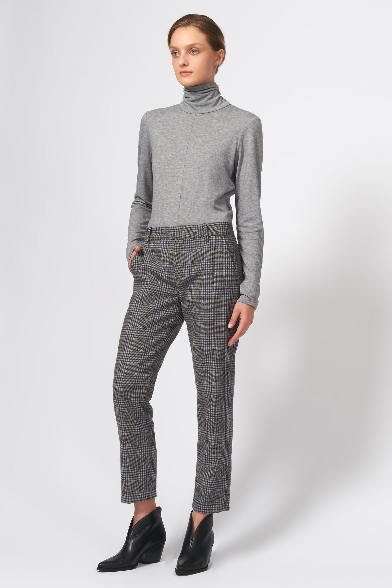 Kal Rieman Cigarette Pant in Grey Plaid on Model Front View