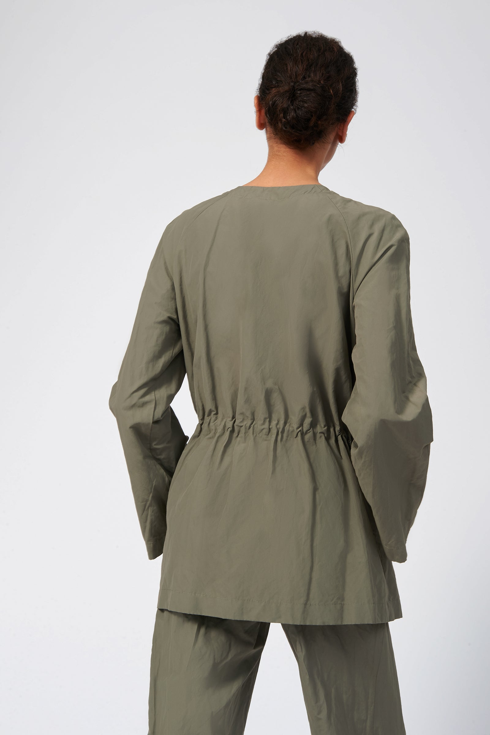 Kal Rieman Cotton Nylon Cinch Jacket in Olive on Model Side View