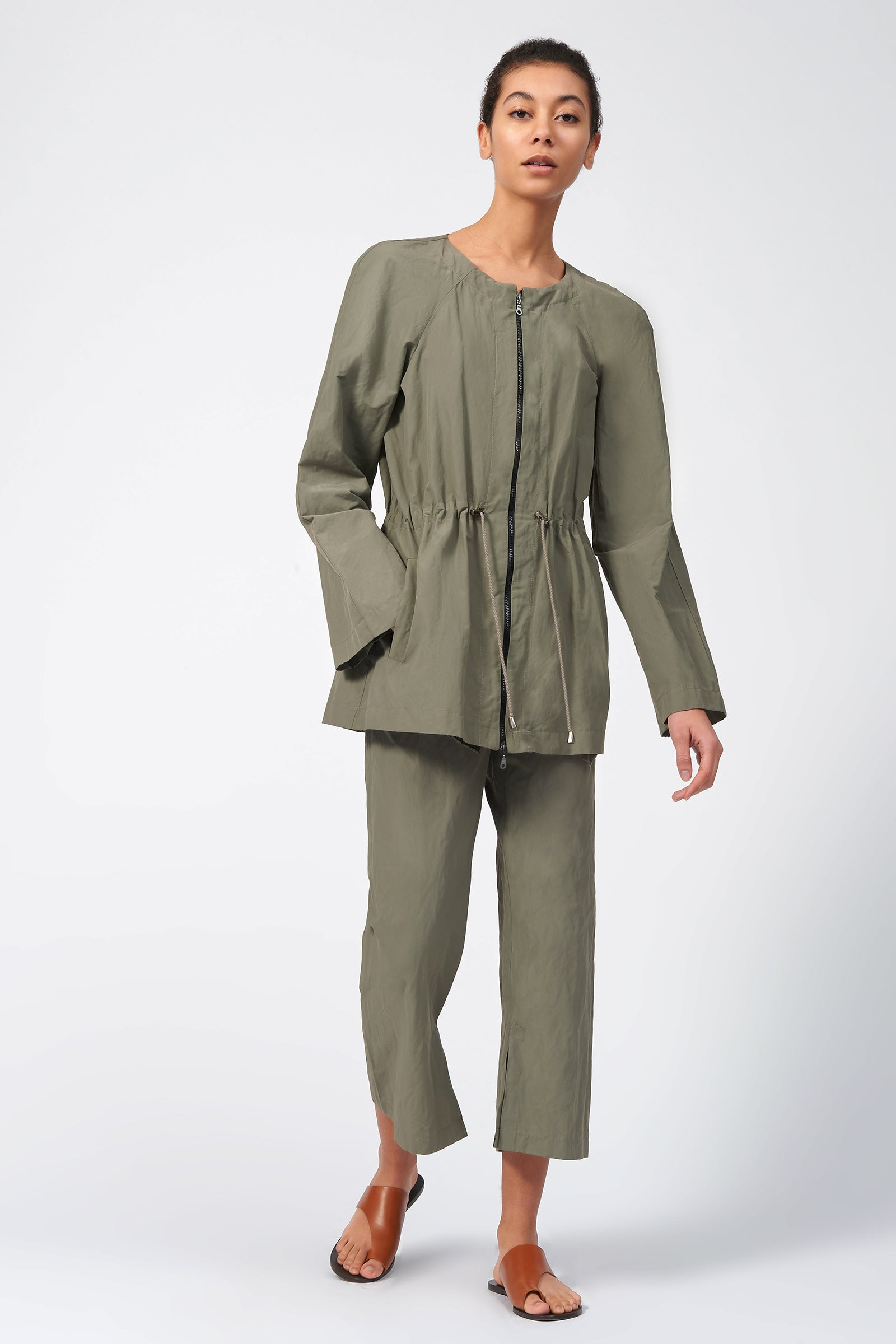 Kal Rieman Cotton Nylon Cinch Jacket in Olive on Model Front View