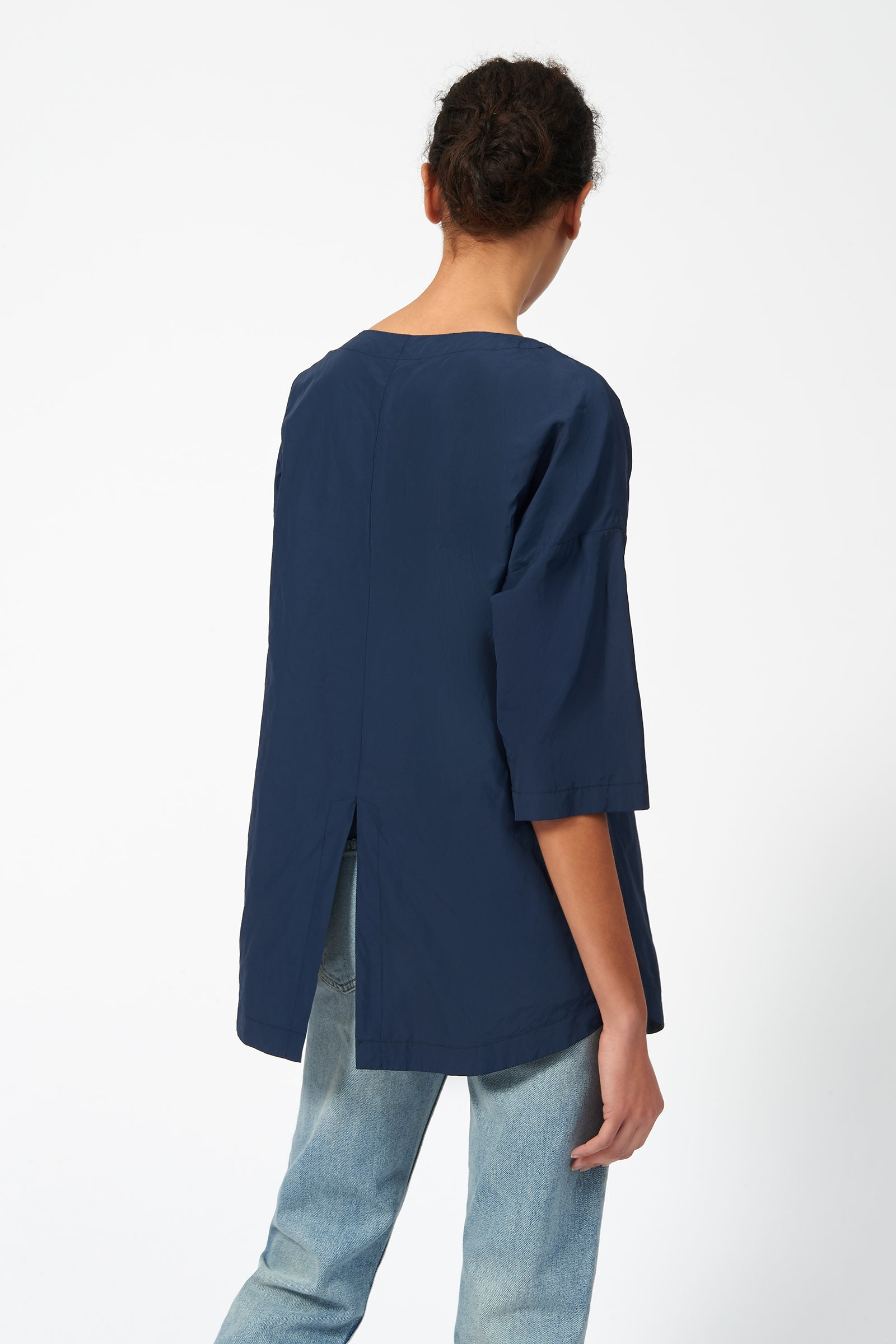Kal Rieman Cinch Front Pullover in Navy on Model Back View